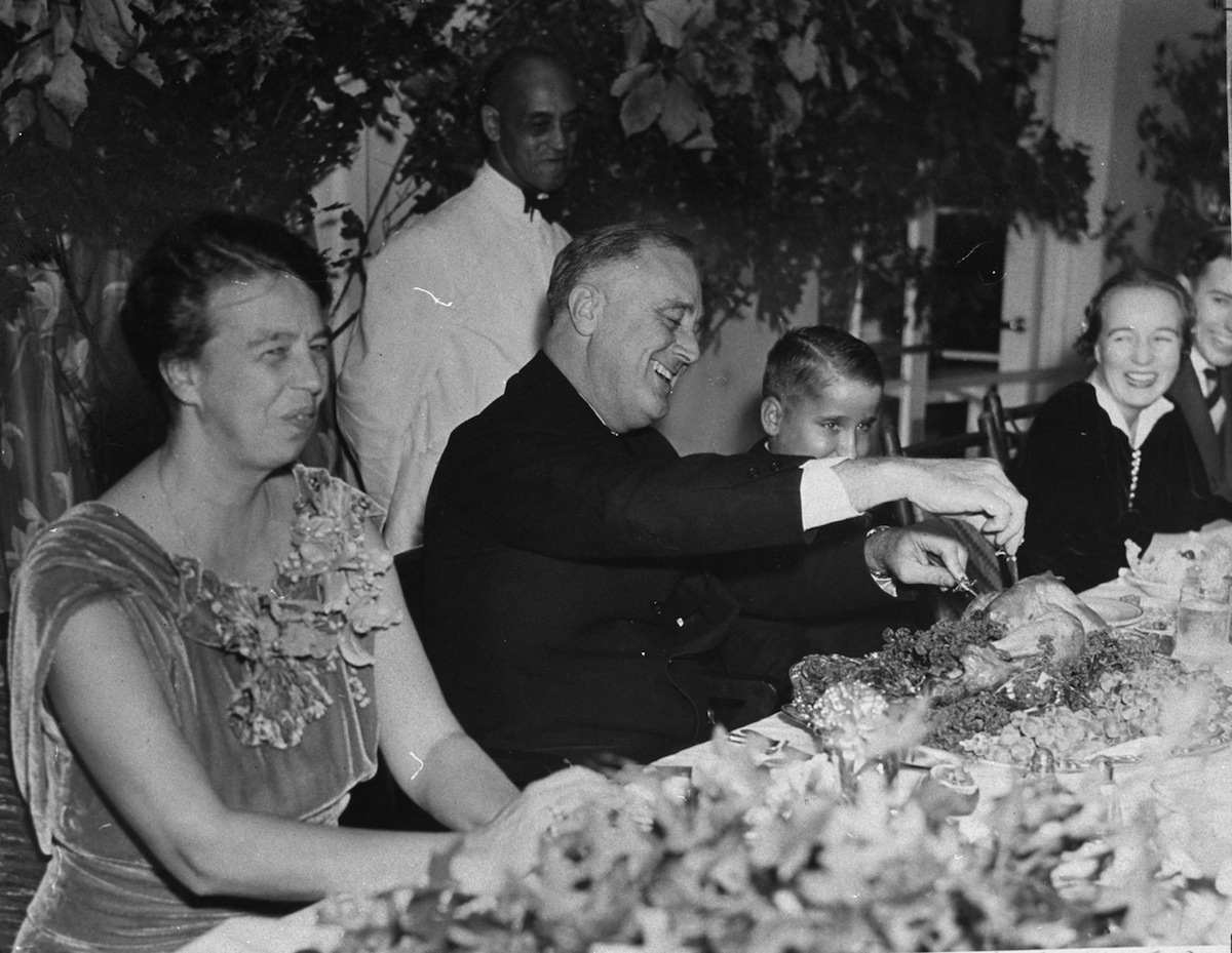 President Franklin D. Roosevelt and his family, during Thanksgiving dinner in 1937