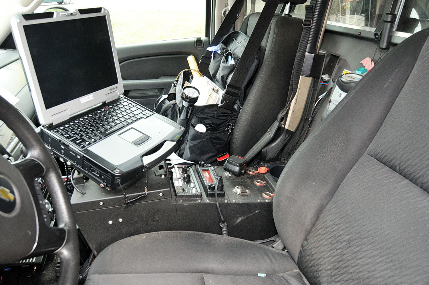 The interior of Officer Wilson's police vehicle. Wilson says he used the radio to call for backup after the shooting