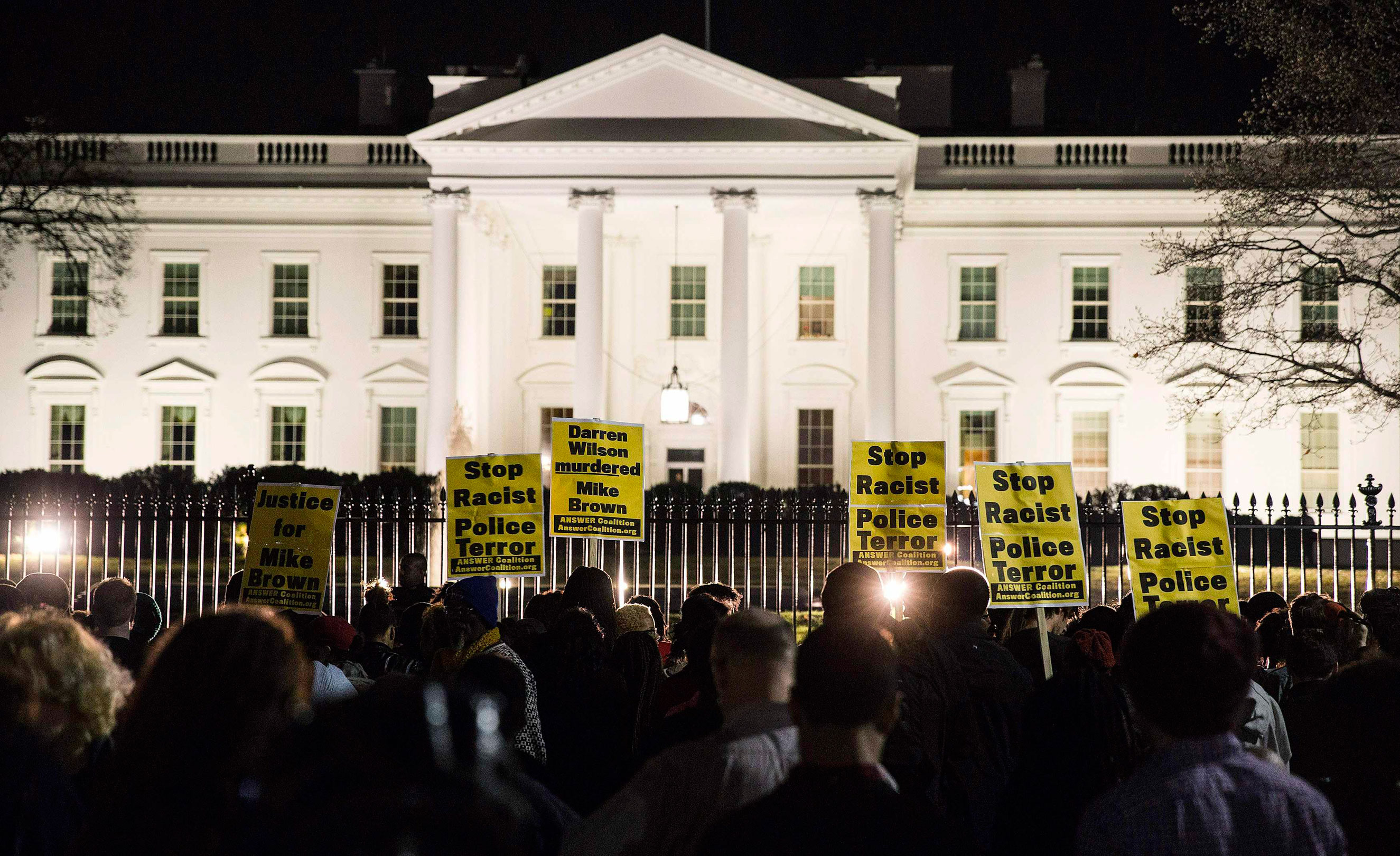 Protesters demonstrate in front of the White House in Washington, D.C., on Nov. 24, 2014.