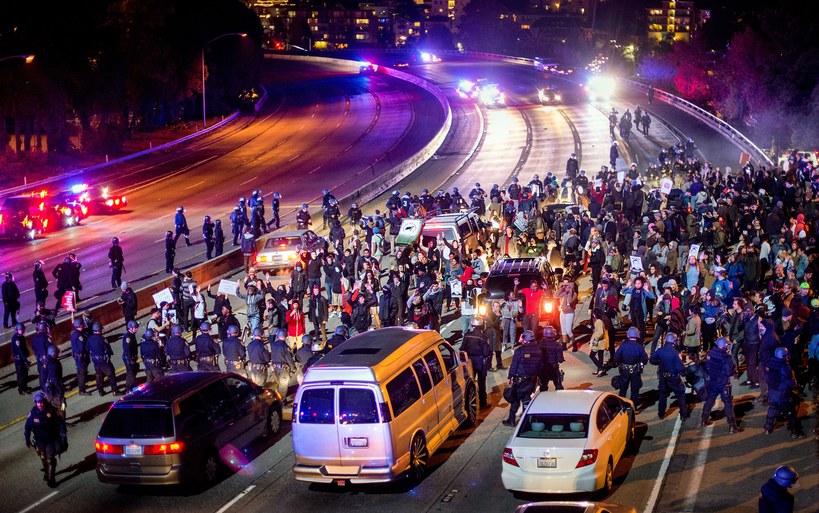 Protesters block Interstate 580 in Oakland, Calif., on Nov. 24, 2014.