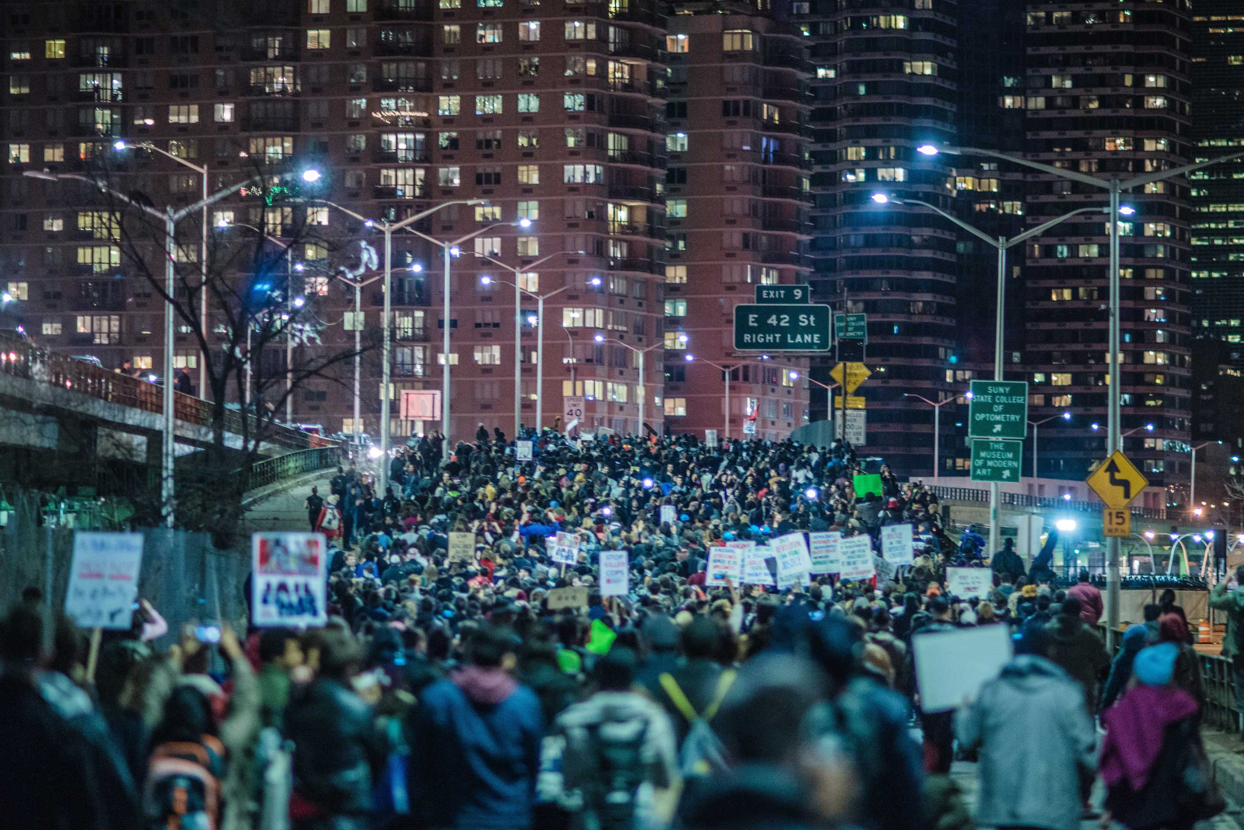 Thousands of protestors take to the streets to protest the grand jury decision, in New York City on Nov. 25, 2014.