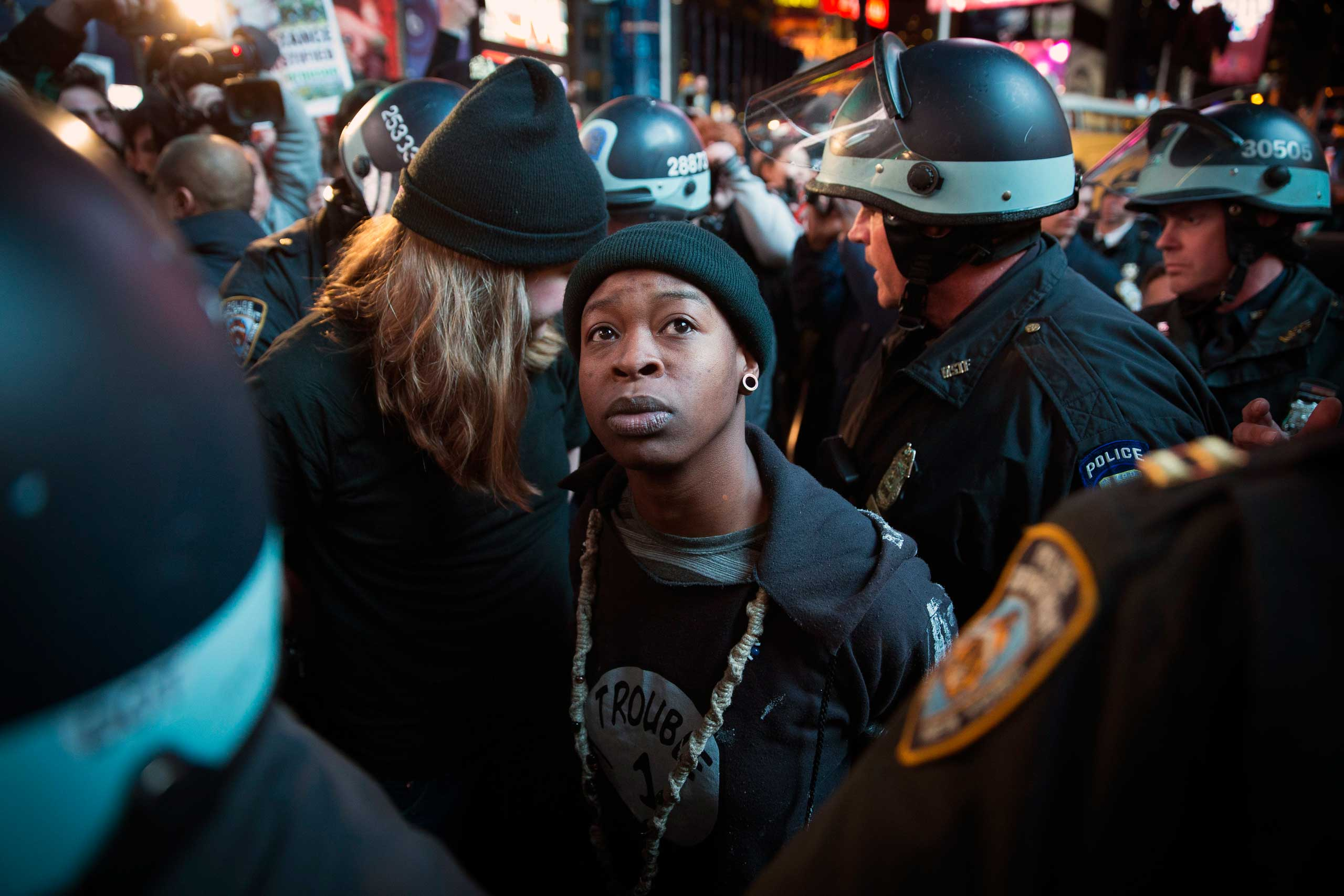 A demonstrator is arrested during a protest against the grand jury's decision, in New York City on Nov. 25, 2014.