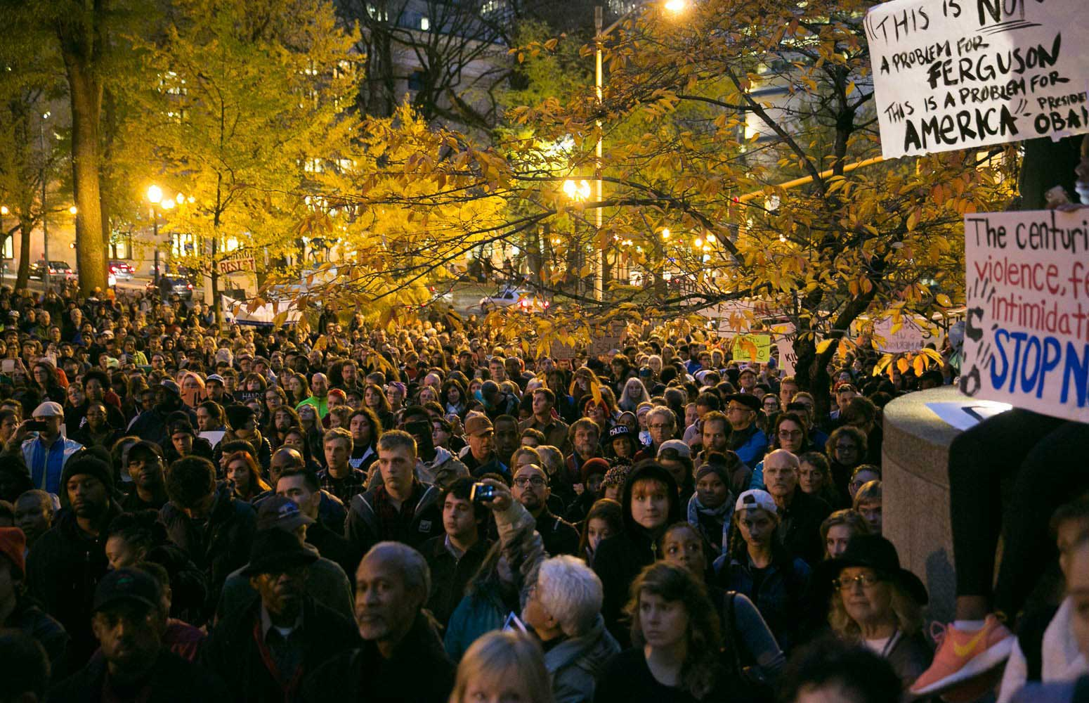 Crowds fill 3rd Avenue and Main Street during a protest in Portland, Ore. on Nov. 25, 2014.