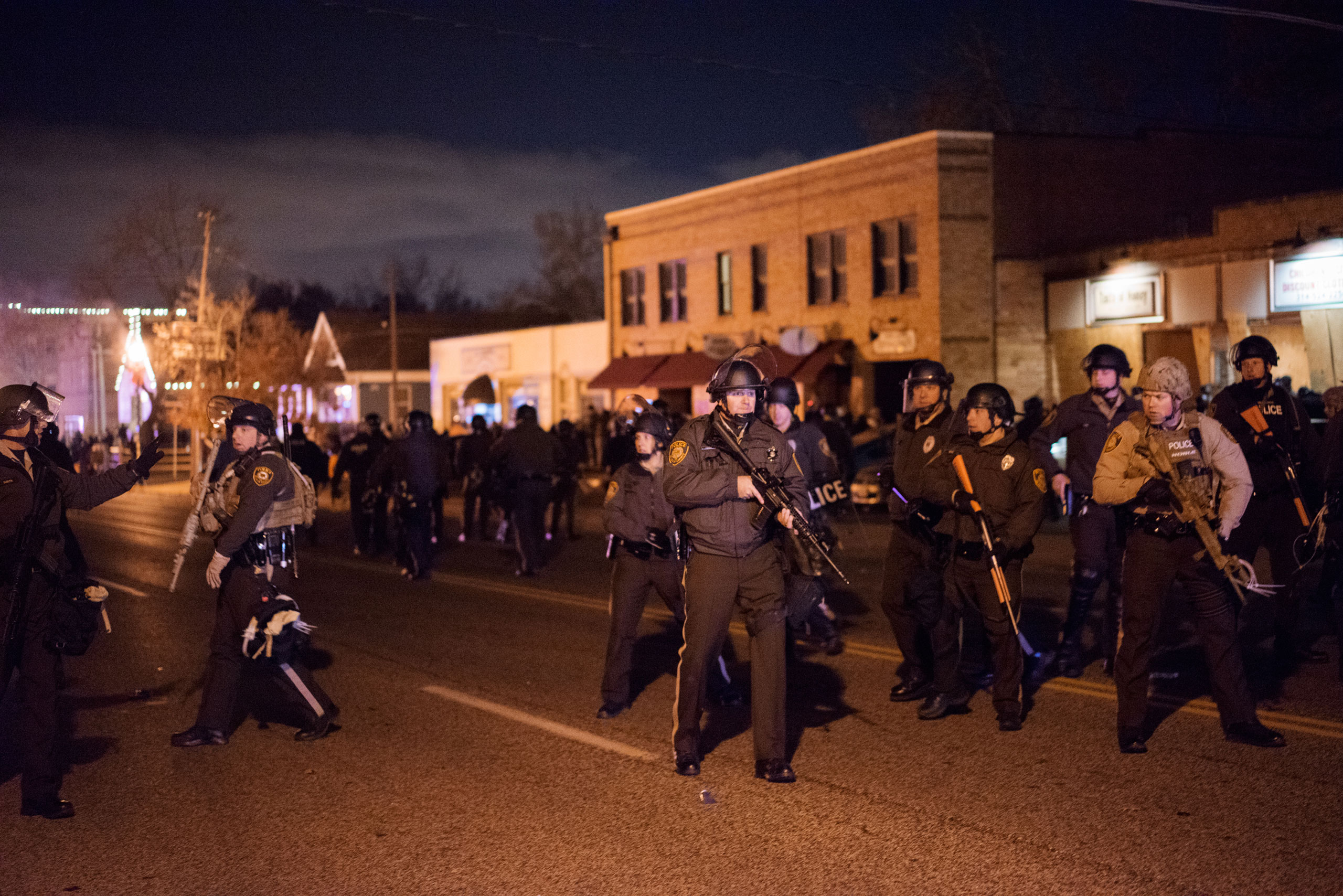 Law enforcement responds to protestors in Ferguson, Mo. on Nov. 24, 2014