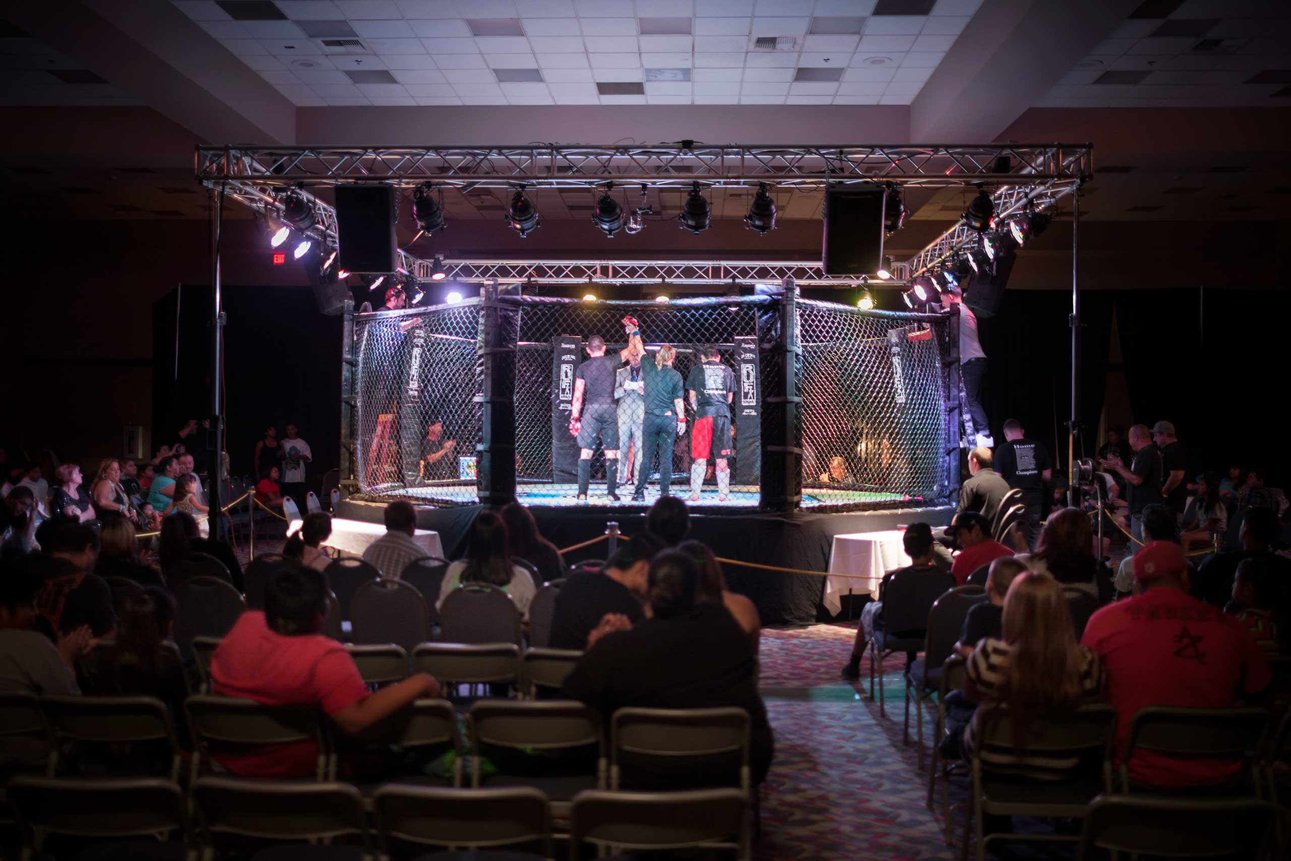 Young mixed martial arts fighters in the octagon in United States Fight League All-star Pankration show at Blue Water Casino in Parker, Arizona, Oct. 2013.