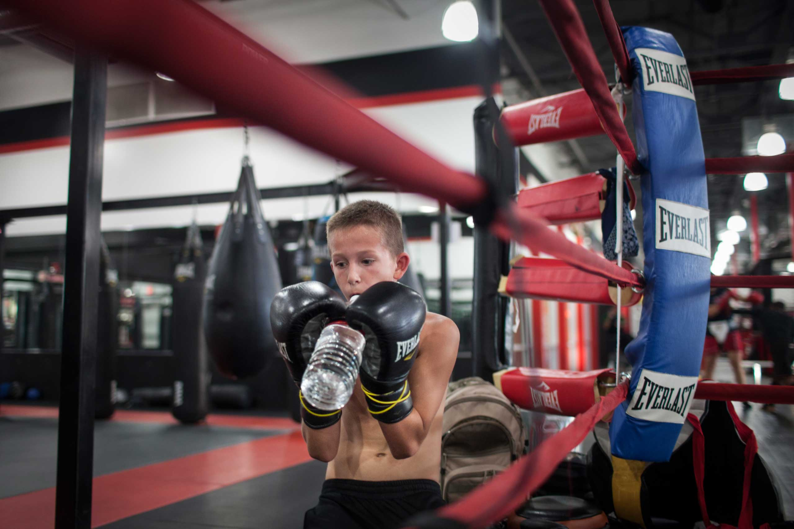 William Reid, 10, at a private boxing class in Power mixed martial arts gym, Mesa, Arizona, Nov. 2013.