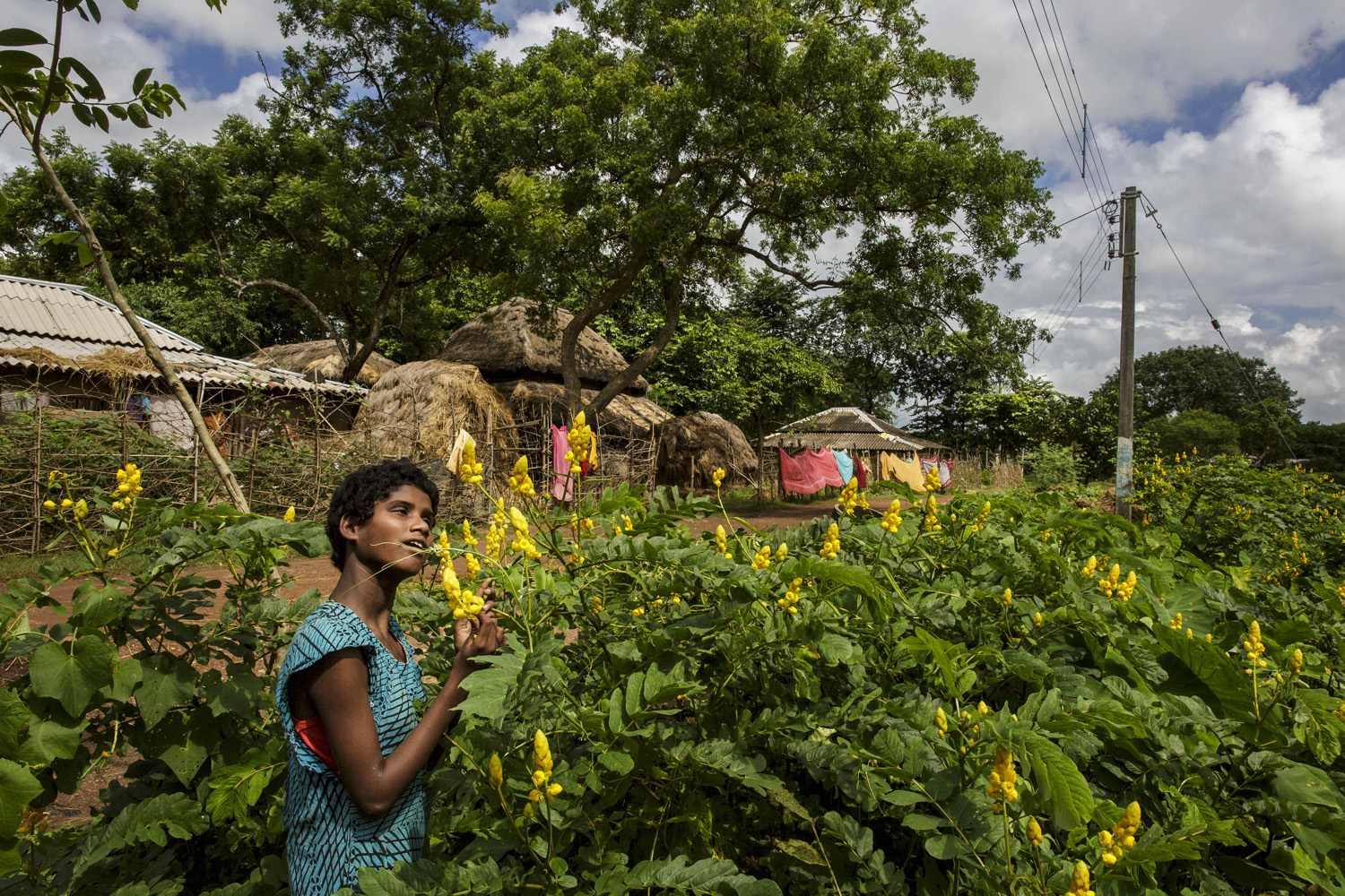 Sonia Singh sniffs flowers close to her home, Oct. 21, 2013 in West Bengal, India.