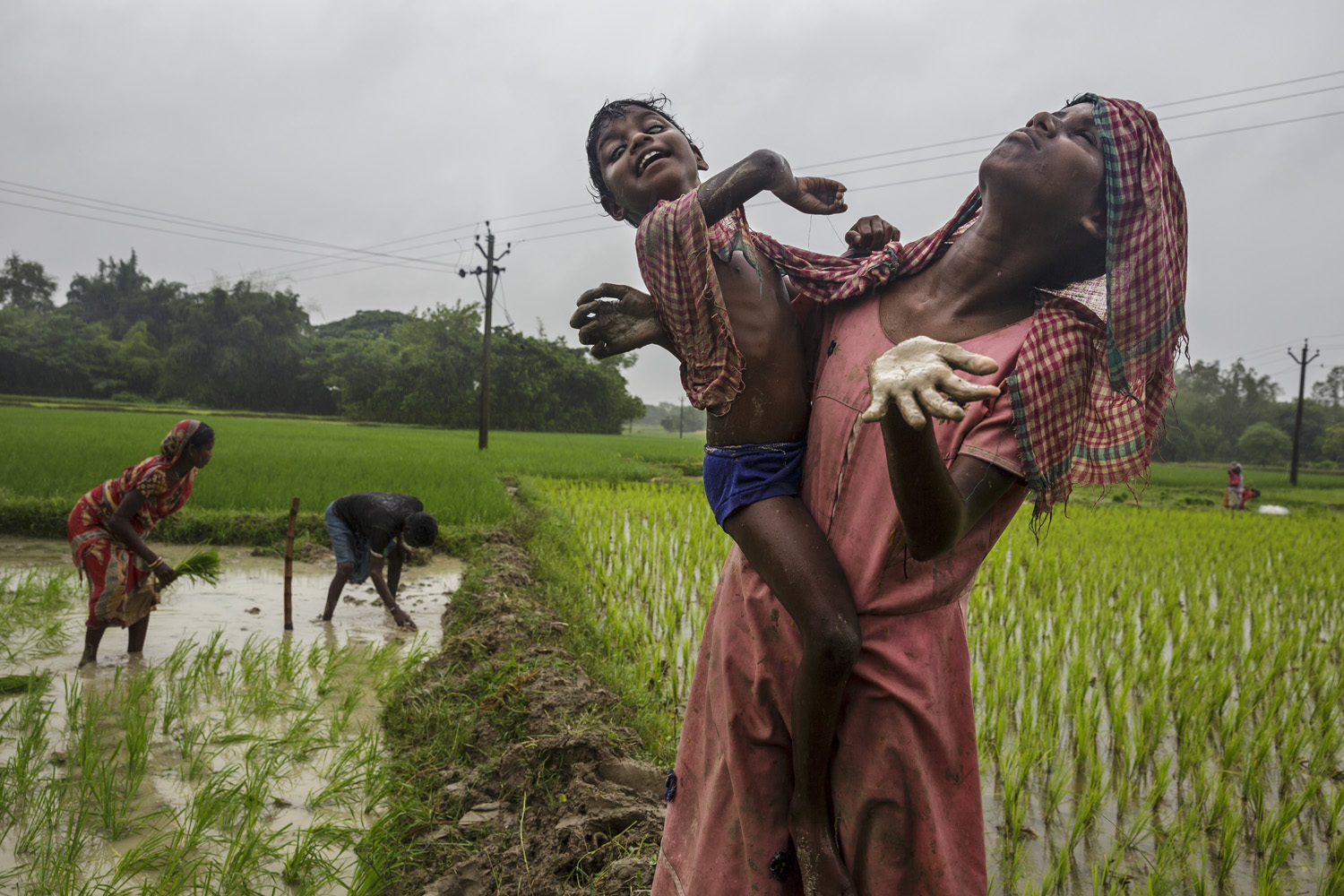 Sonia and Anita Singh accompany their parents during a rainstorm while they work in fields, Oct. 21, 2013 in West Bengal, India.