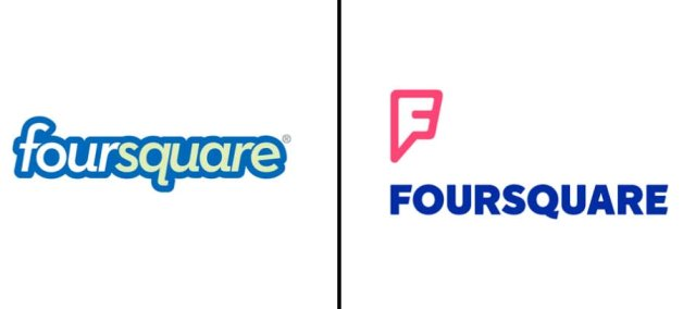 Left: Previous Foursquare; Right: Updated logo as of July, 2014.