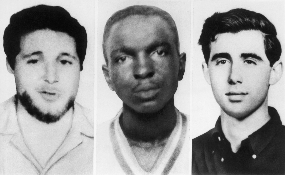 From left, Michael Schwerner, James Chaney, and Andrew Goodman
