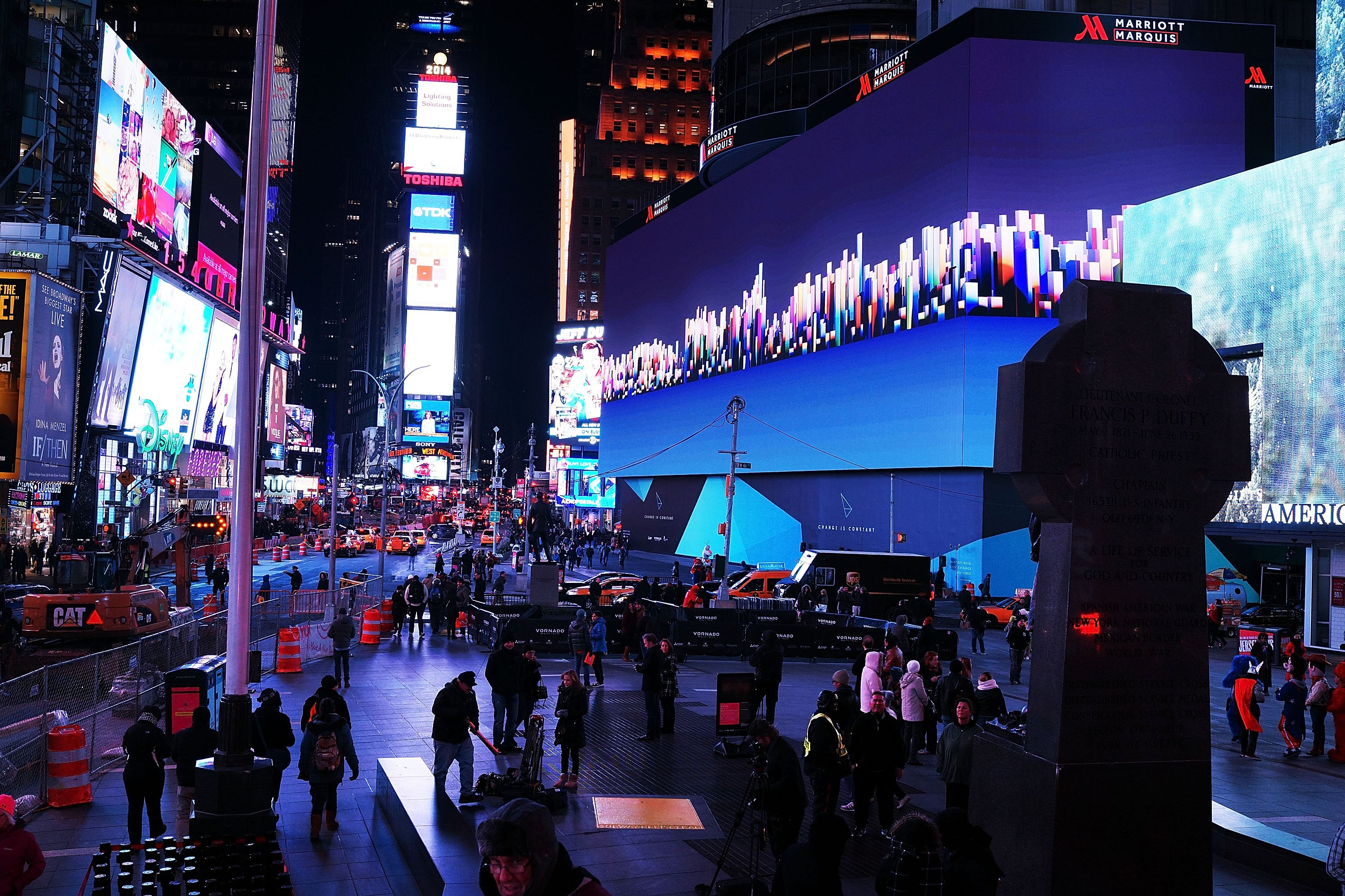 Billed as Times Square's largest and most expensive digital billboard, a new megascreen is debuted in front of the Marriott Marquis hotel on Nov.18, 2014 in New York City.