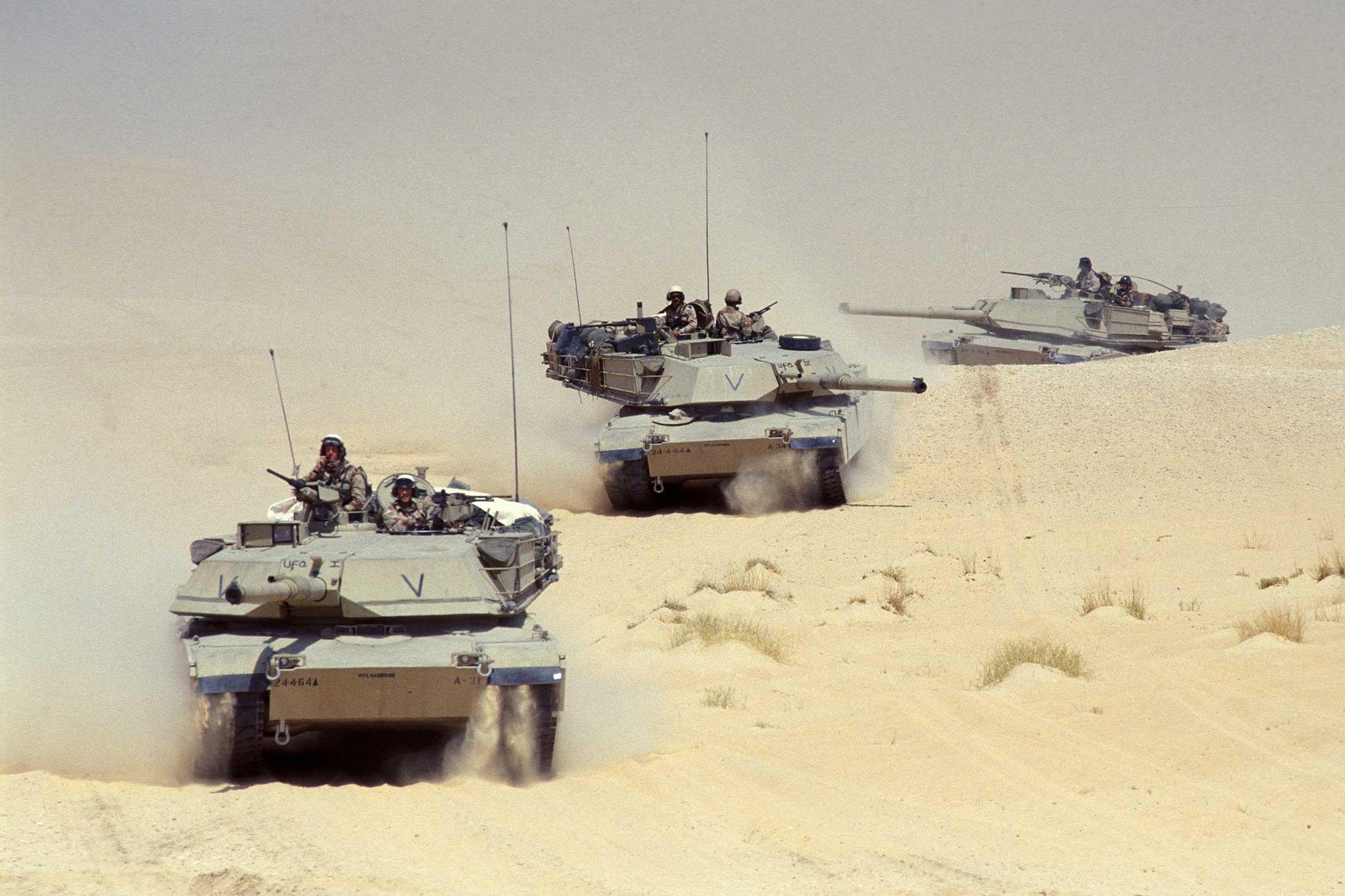 U.S. M-1 tanks in the desert in Saudi Arabia on September 13th, 1990.