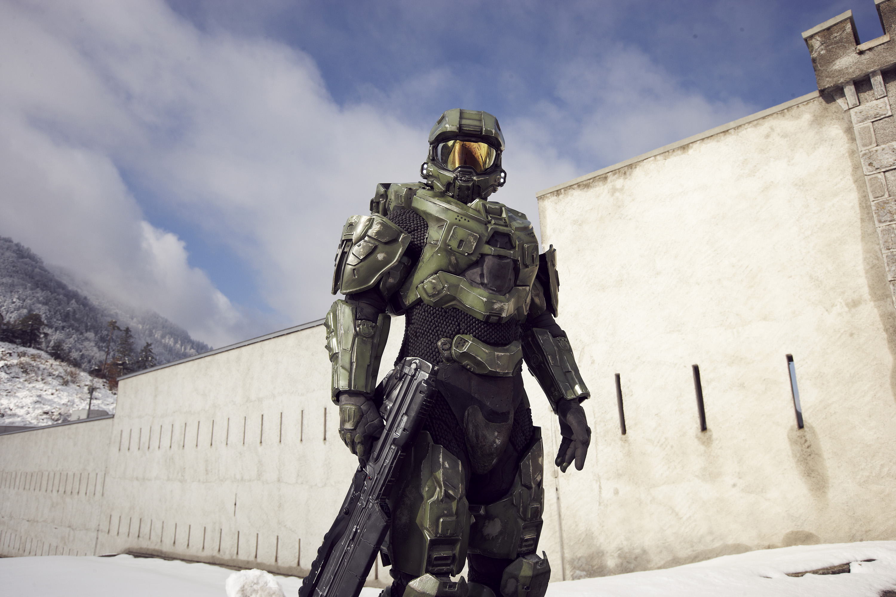 Master Chief stands guard at the Liechtenstein border during the HALO 4 launch by Xbox 360 on October 29, 2012 in Balzers, Liechtenstein.