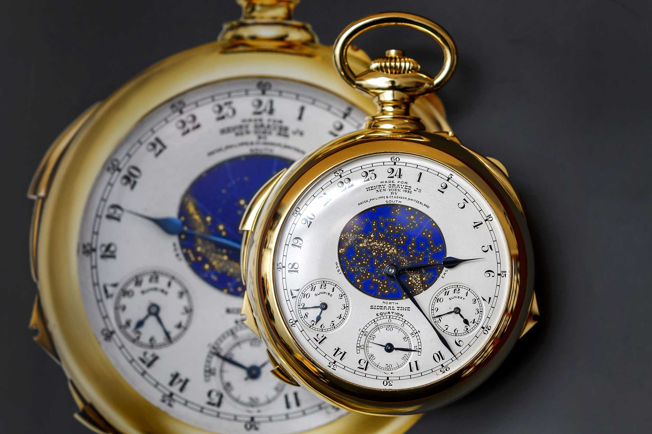 The Henry Graves Supercomplication timepiece made by Swiss watchmaker Patek Philippe in 1932 is photographied during a press preview by Sotheby's auction house on November 5, 2014 in Geneva.