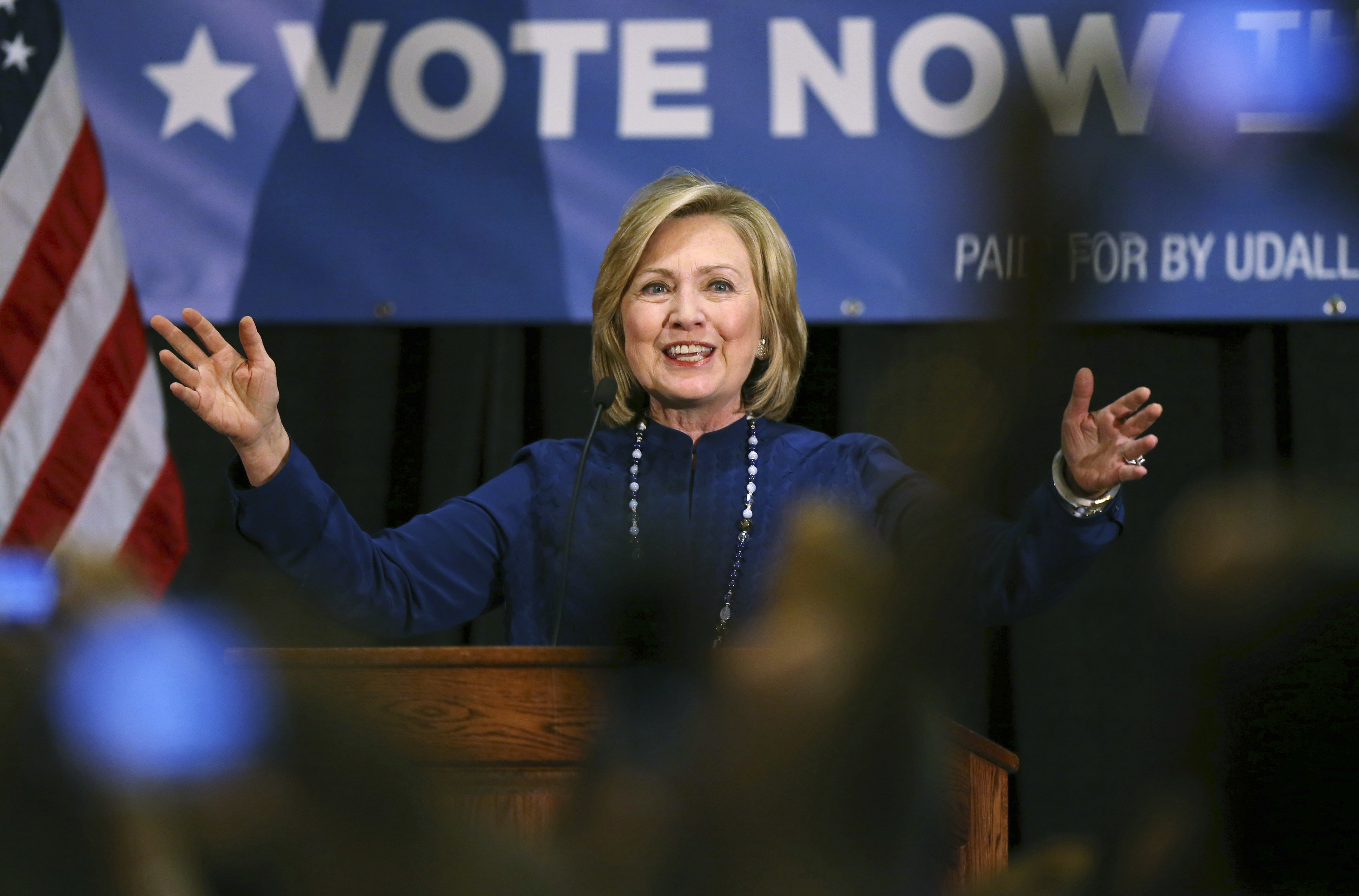 Former Secretary of State Hillary Rodham Clinton speaks to a crowd during a campaign stop to promote Democrats in re-election bids in the east Denver suburb of Aurora, Colo. on Oct. 21, 2014.