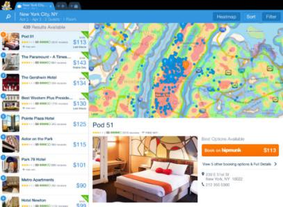 """<strong>Hipmunk Hotels &amp; Flights.</strong> Hipmunk takes the traditional flight-search model and turns it on its head, showing options sorted first by """"agony,"""" then by price and other factors. You're treated to a grid of at-a-glance info about which flights and hotels have Wi-Fi, which flights have long layovers, and a """"heatmap"""" of hotel options that shows you how close each hotel is to the action — all in a fun, easy-to-use interface."""