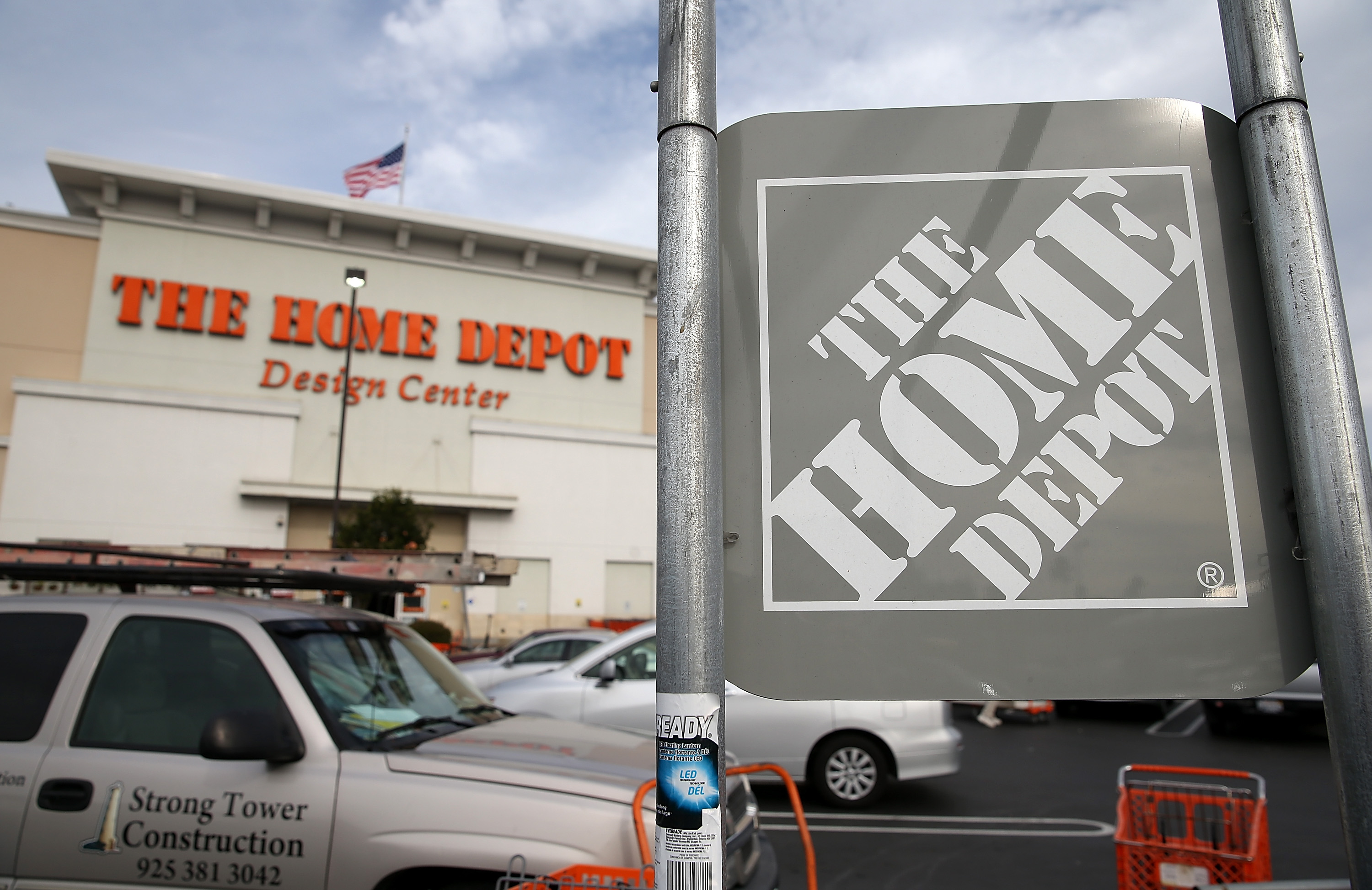 A sign stands in front of a Home Depot store on Nov. 18, 2014 in Daly City, Calif.