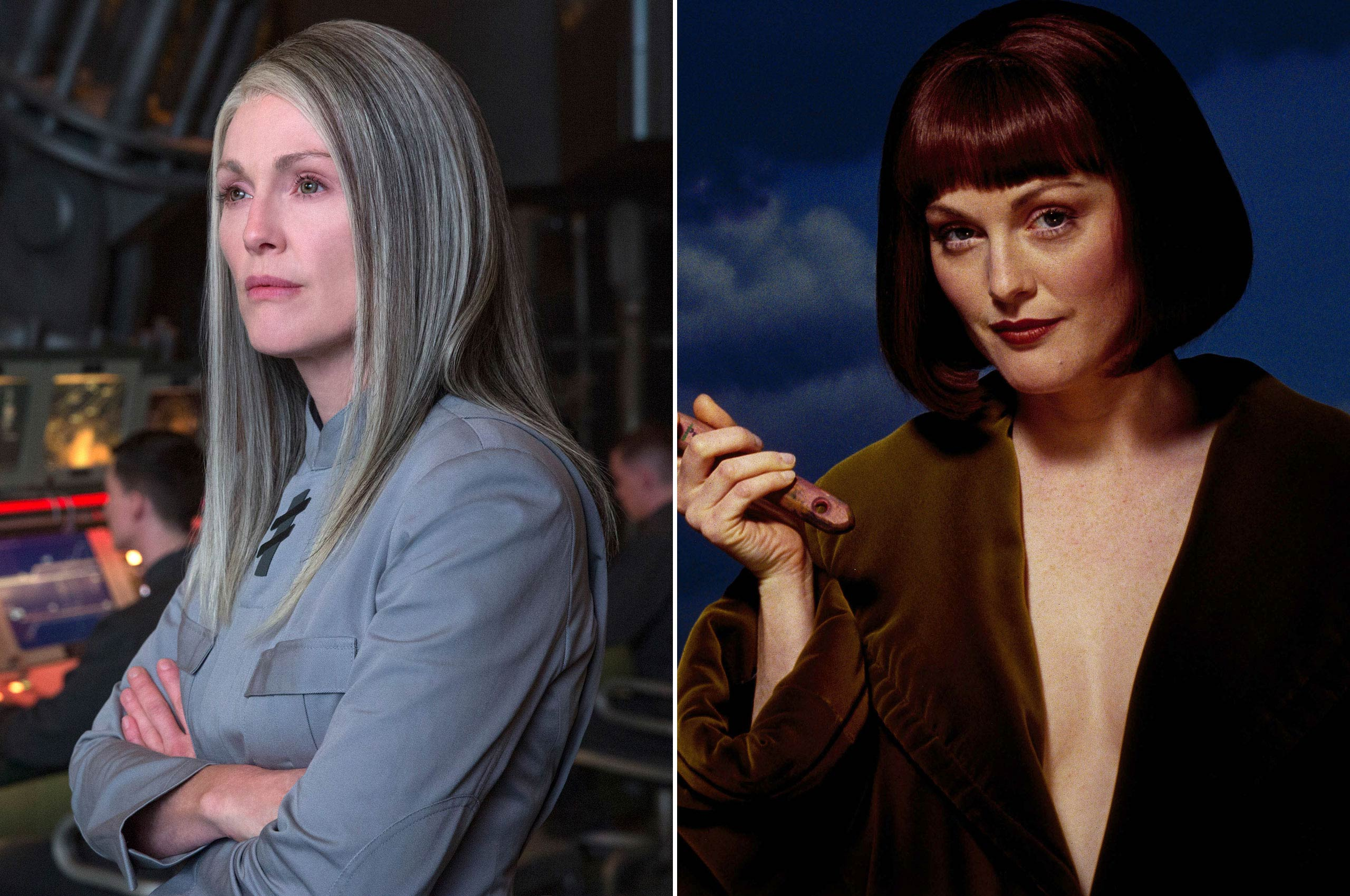 Julianne Moore takes on a stark tone as the reserved and stoic President Alma Coin of District 13 in <i>Mockingjay</i>, but in 1998 she played the uninhibited avant-garde artist Maude in <i>The Big Lebowski</i>.