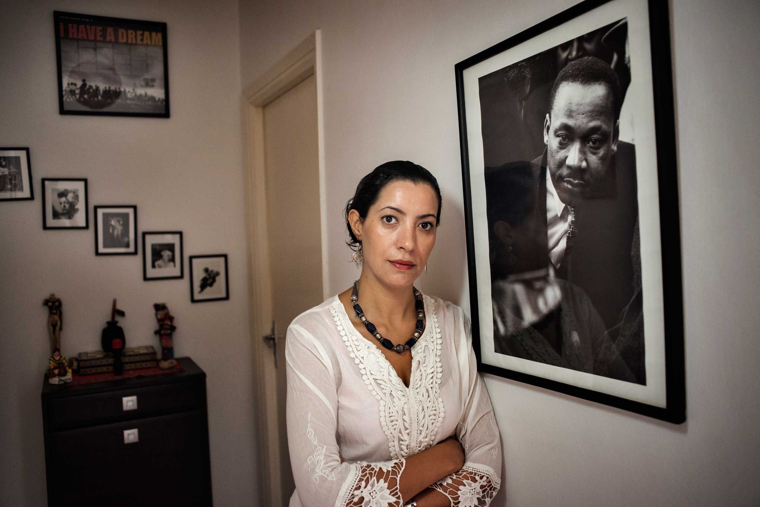 Tunisian woman's right's activist Ikram Ben Said at her home in Tunis, Tunisia on Aug. 18, 2014.