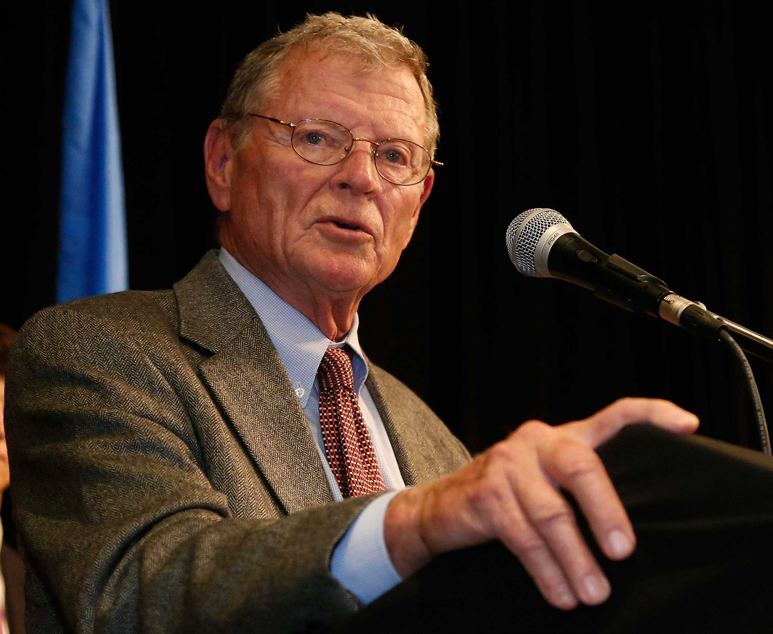 Sen. Jim Inhofe, R-Okla. gives a victory speech at the Republican watch party in Oklahoma City on Nov. 4, 2014.