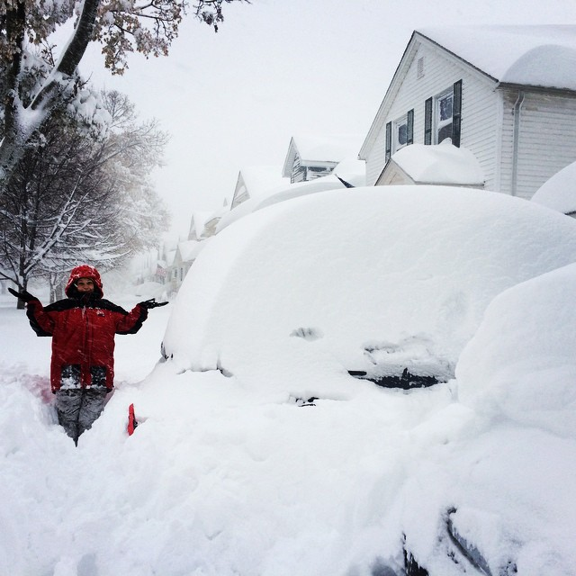 "Jackie Roach posted this photo to Instagram of her mom, saying ""#mom and I should be out of the driveway by march or so. #buffalo #snowstorm #lakeeffect #southbuffalo #iloveit"""