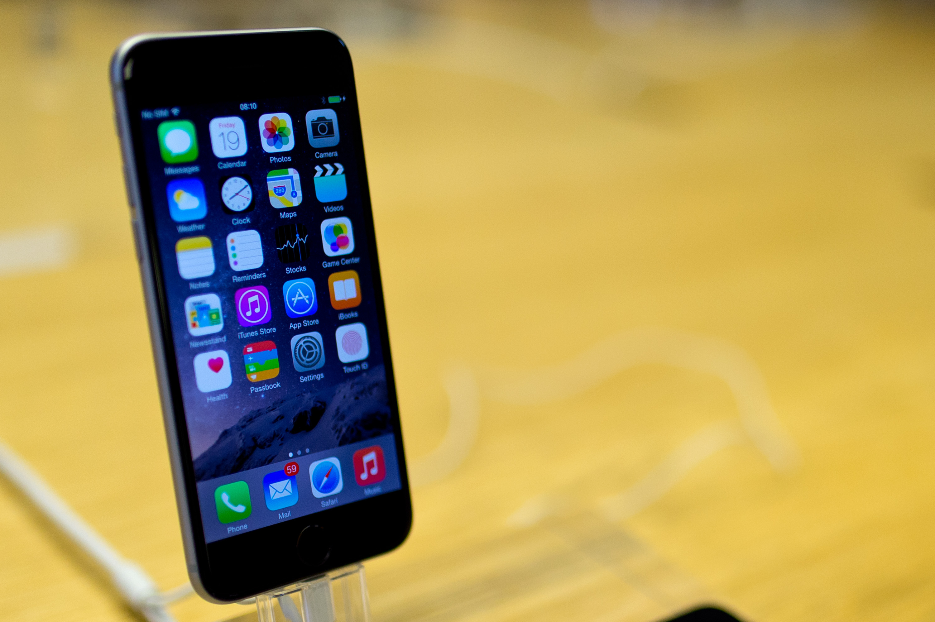 A general view of the iPhone 6 at Apples Covent Garden store launch on September 19, 2014 in London, England.