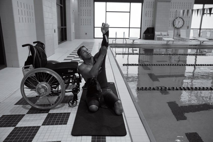 """Before he started swimming at a Walter Reed pool, above, King would often fall asleep to audio of motivational speakers and Bible verses and play around on his iPad, searching for inspiration and a new talent. On a whim, he typed in """"double amputee running"""" and was struck by videos of Scott Rigsby, a double-leg-amputee triathlete. """"It felt so good to see that was possible,"""" he says. """"I was like, Man, maybe this is what I'm supposed to do."""""""