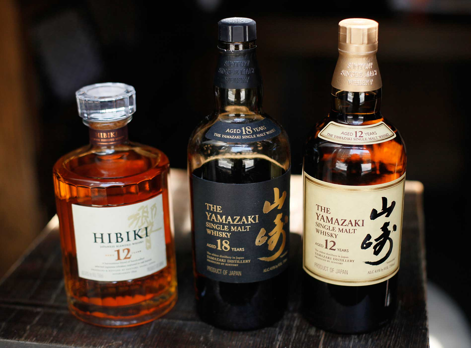 From left are Hibiki 12-year-old, Yamazaki 18 and 12-year-old Japanese whiskys at the Rickhouse bar in San Francisco, Aug. 6, 2010.
