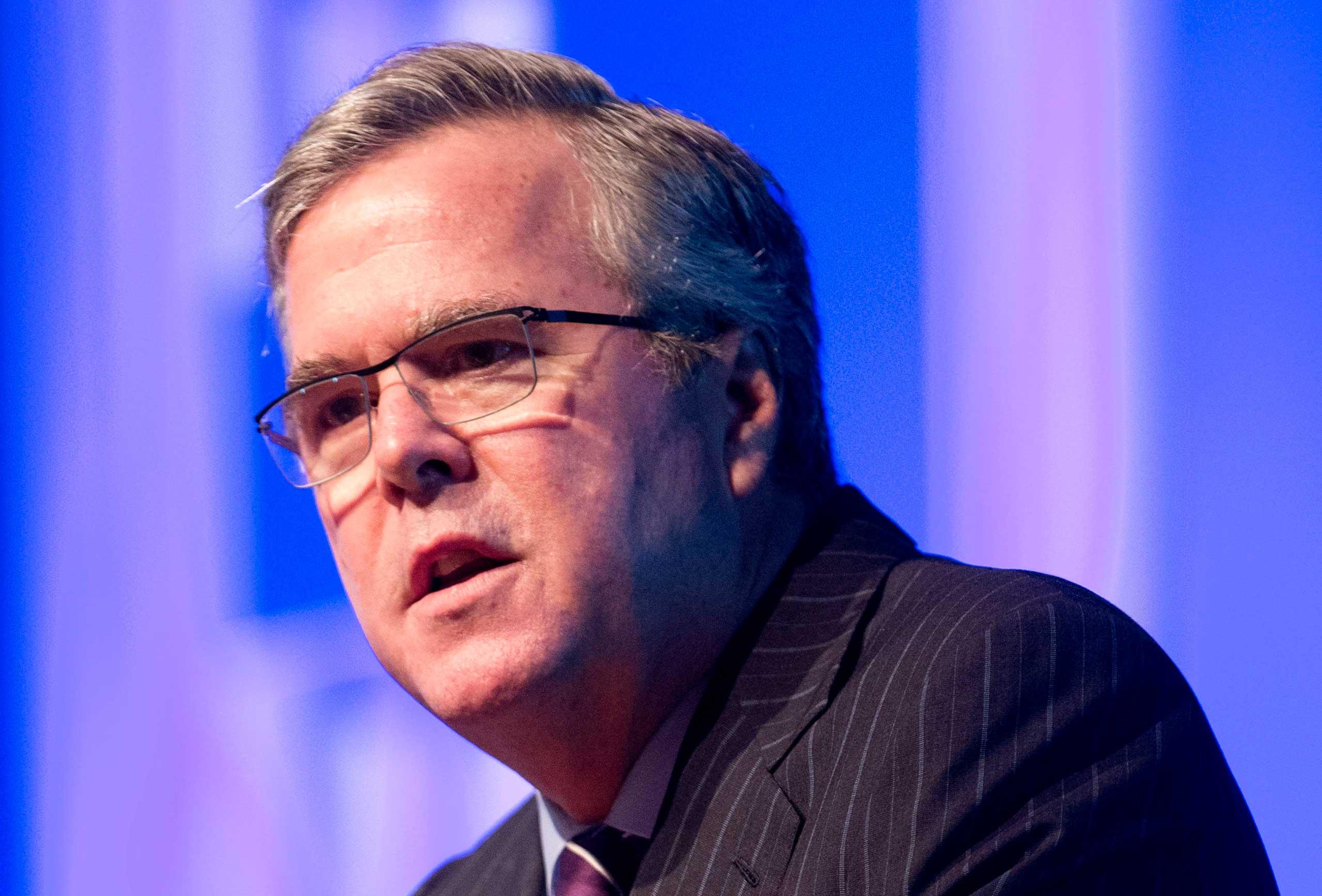 Former Florida Gov. Jeb Bush speaks in Hollywood, Fla. on Jan. 29, 2014.