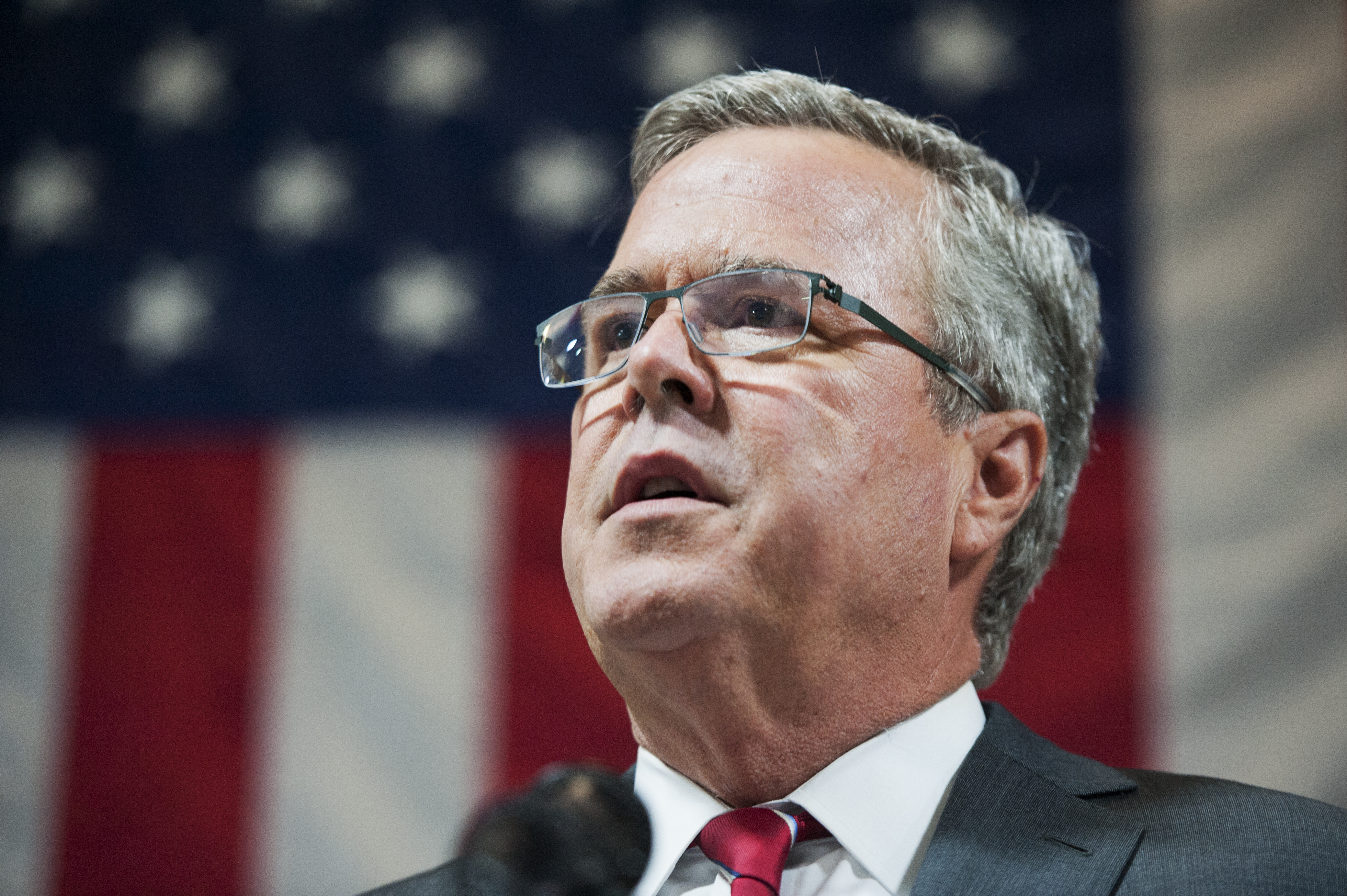 Former Florida Gov. Jeb Bush, speaks at an event at Illuminating Technologies Inc., in Greensboro, N.C. on Sept. 24, 2014.