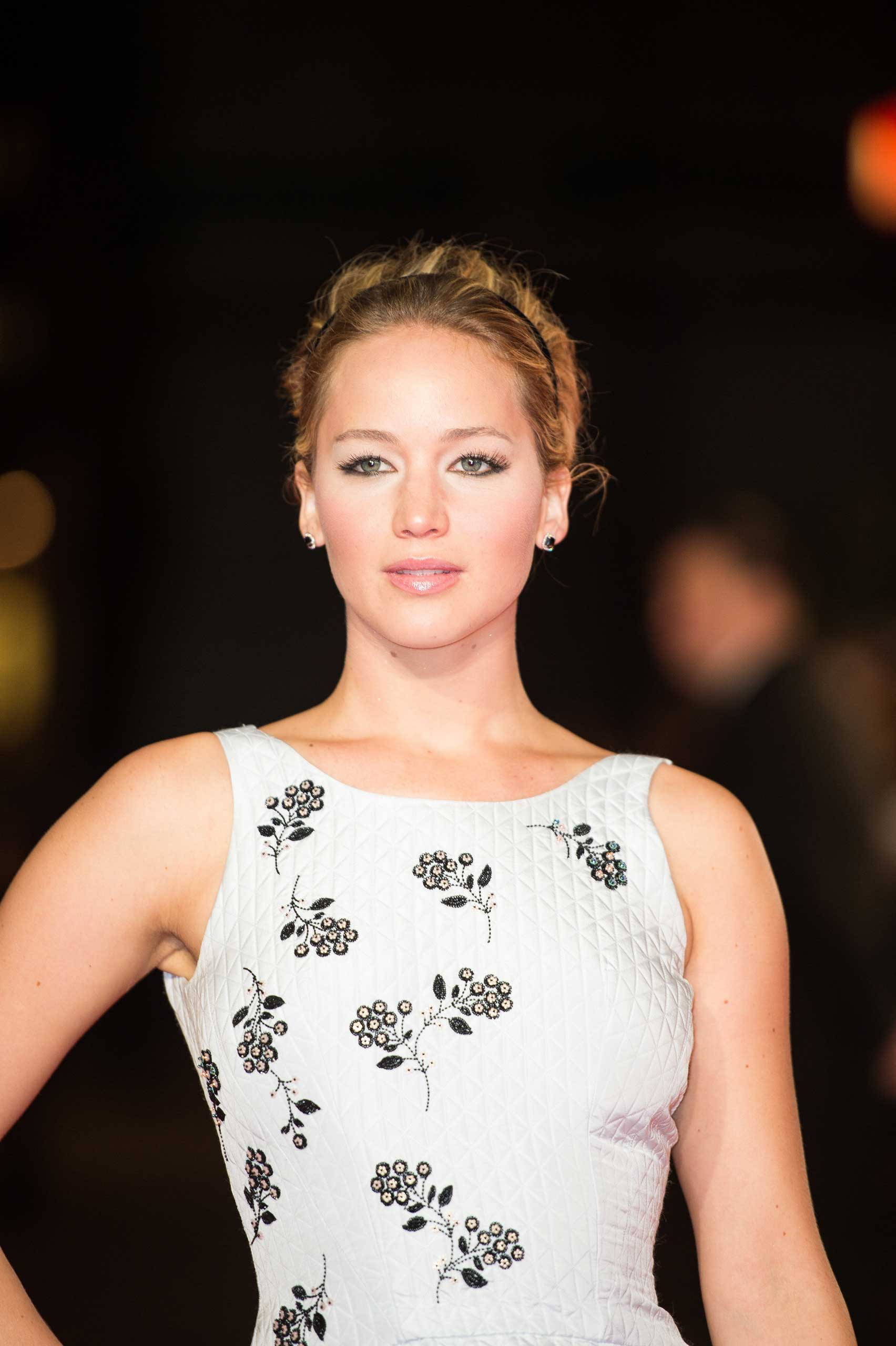 Jennifer Lawrence at the Hunger Games Premiere at Leicester Square in London on Nov. 10, 2014.