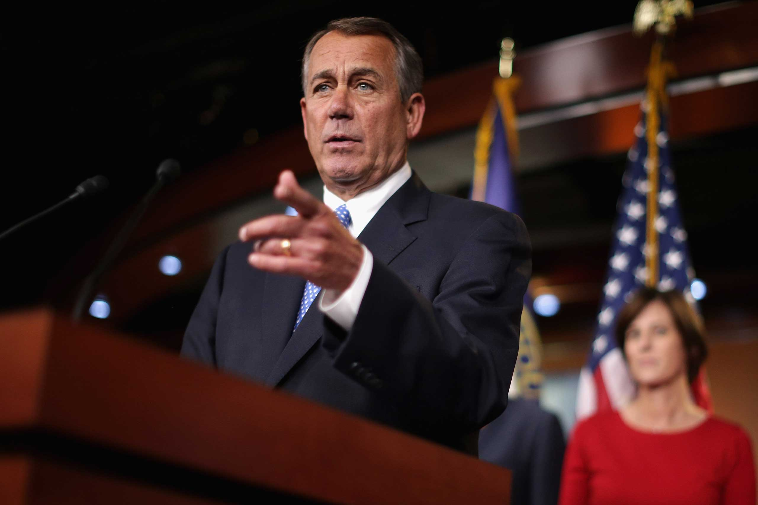 Speaker of the House John Boehner (R-OH) holds a news conference with the newly-elected members of the House GOP leadership at the U.S. Capitol in Washington on Nov. 13, 2014.