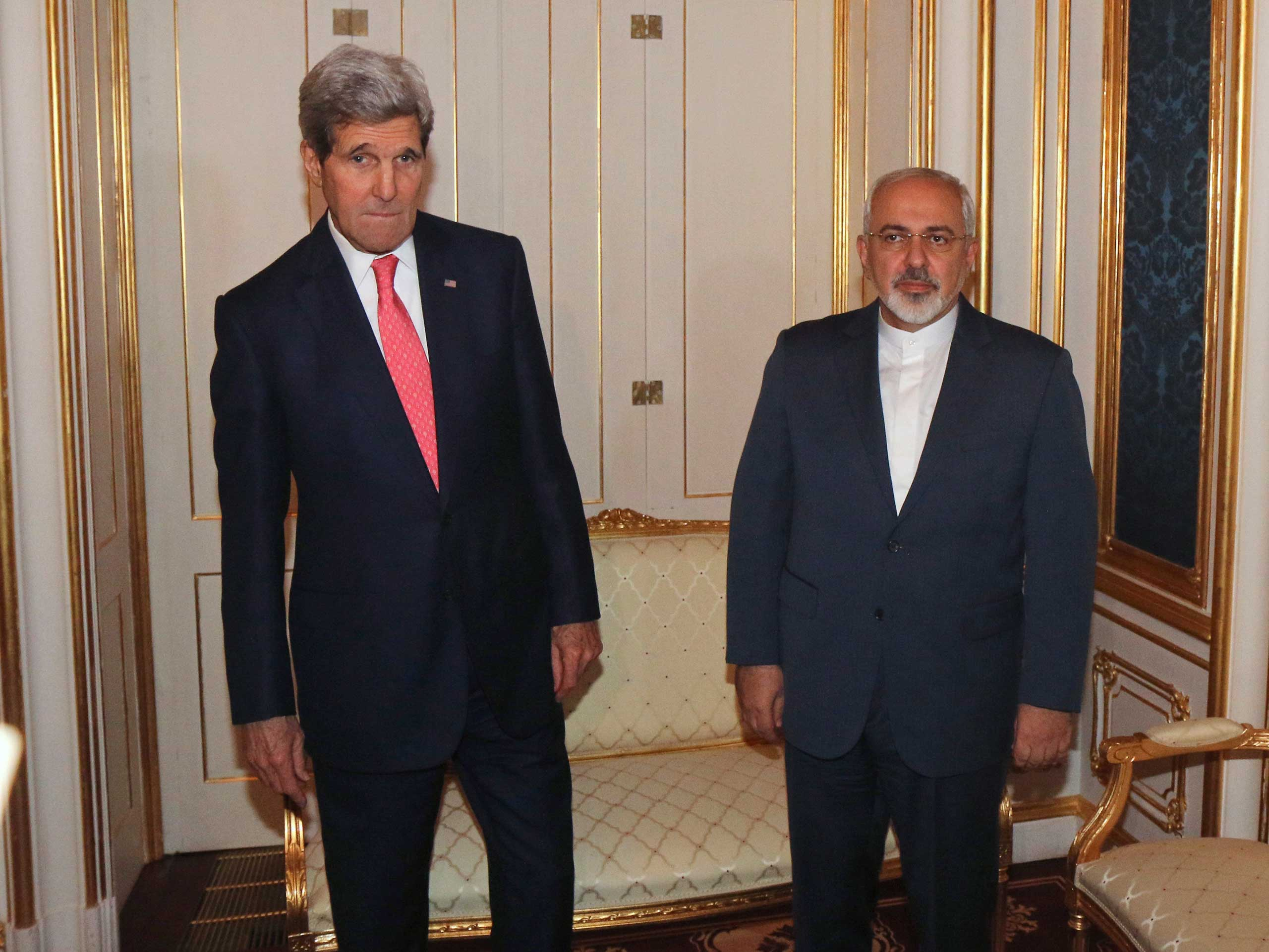 Secretary of State John Kerry and Iranian Foreign Minister Javad Zarif before a meeting in Vienna, Nov. 23, 2014.