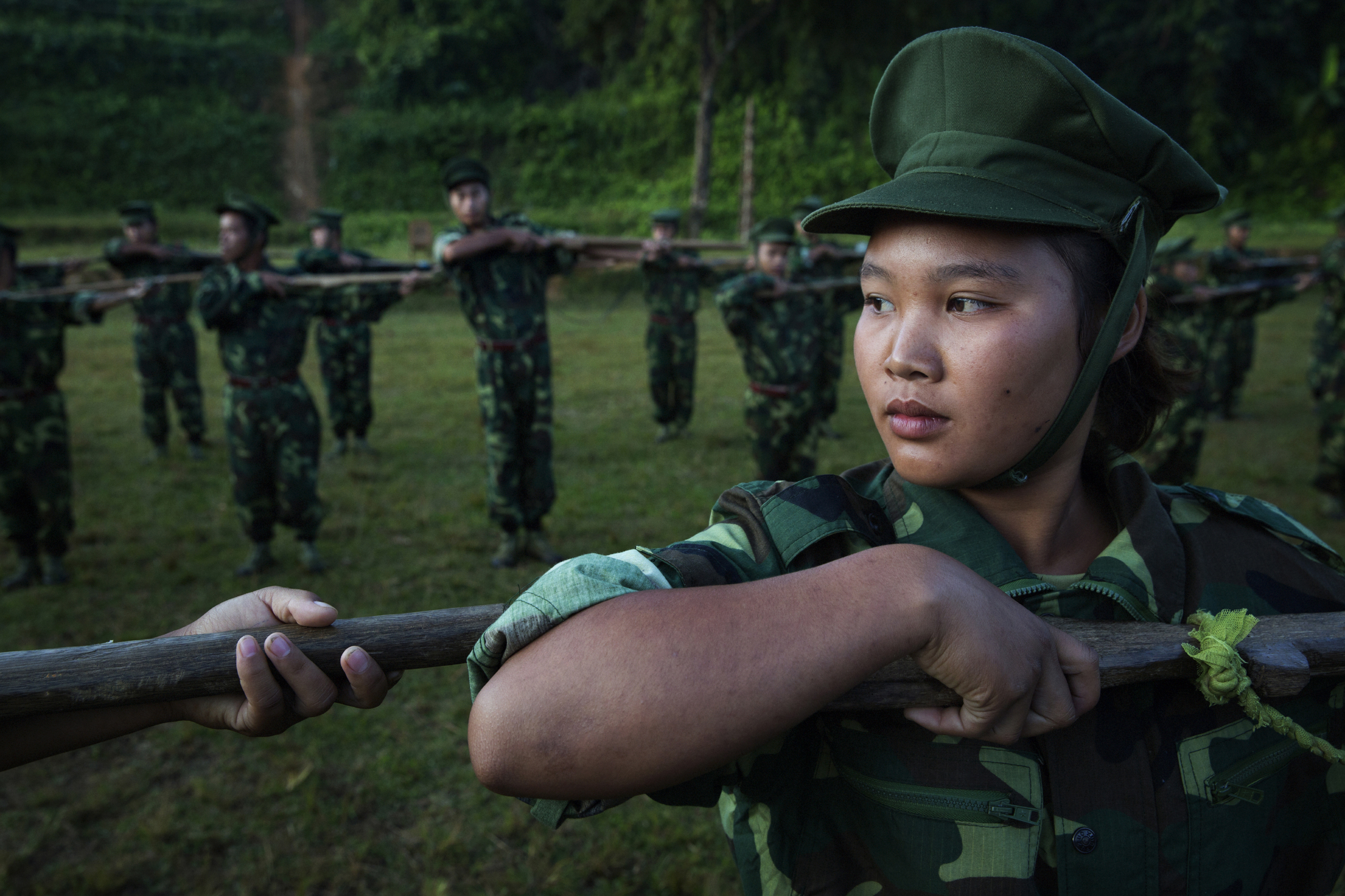 High school and university students receive drill instructions  in Laiza, which lies in a Kachin Independence Army–controlled part of Kachin state, in Burma, on Nov. 10,  2014