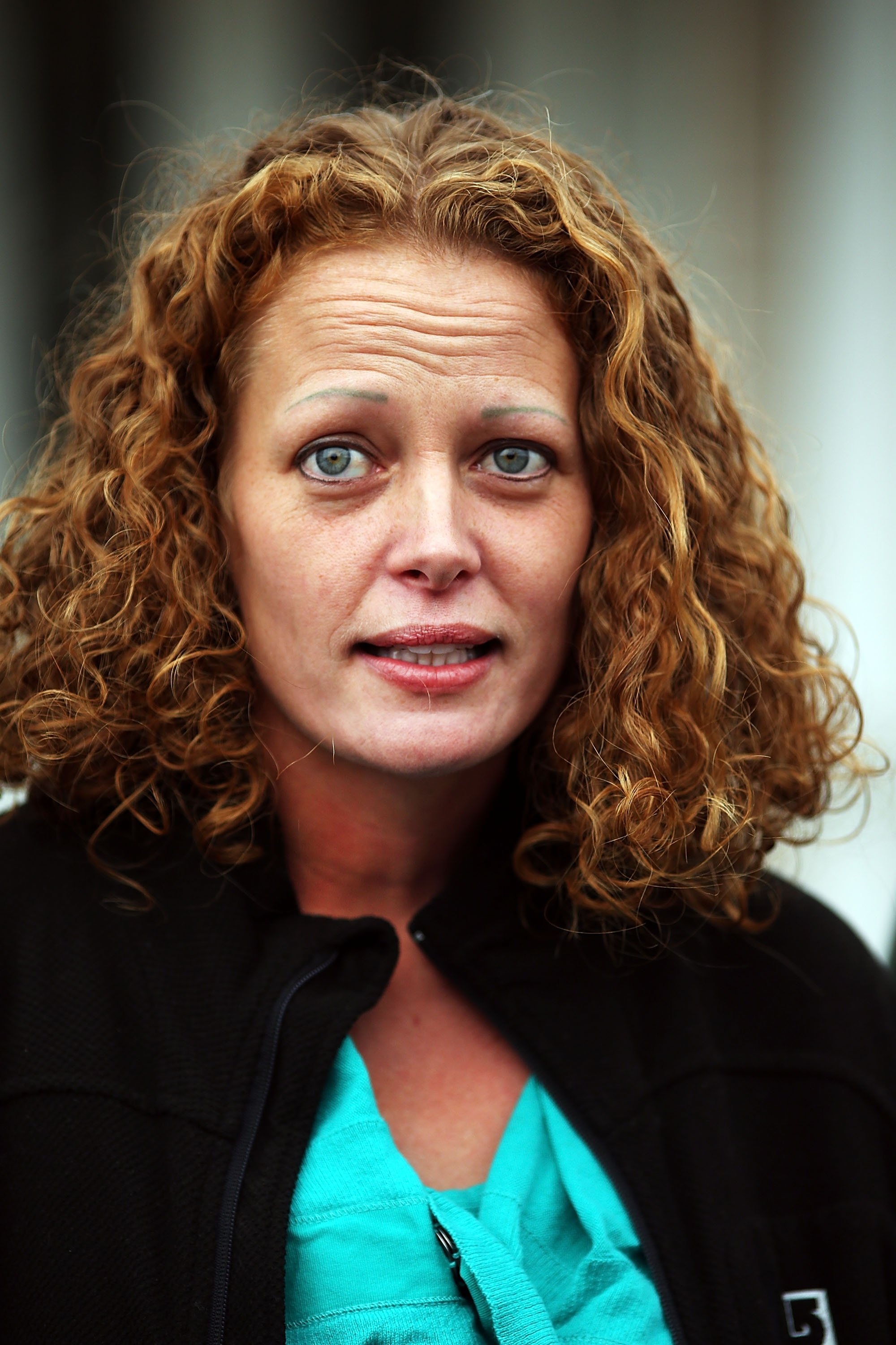 Kaci Hickox gives a statement to the media in front of her home on October 31, 2014 in Fort Kent, Maine.