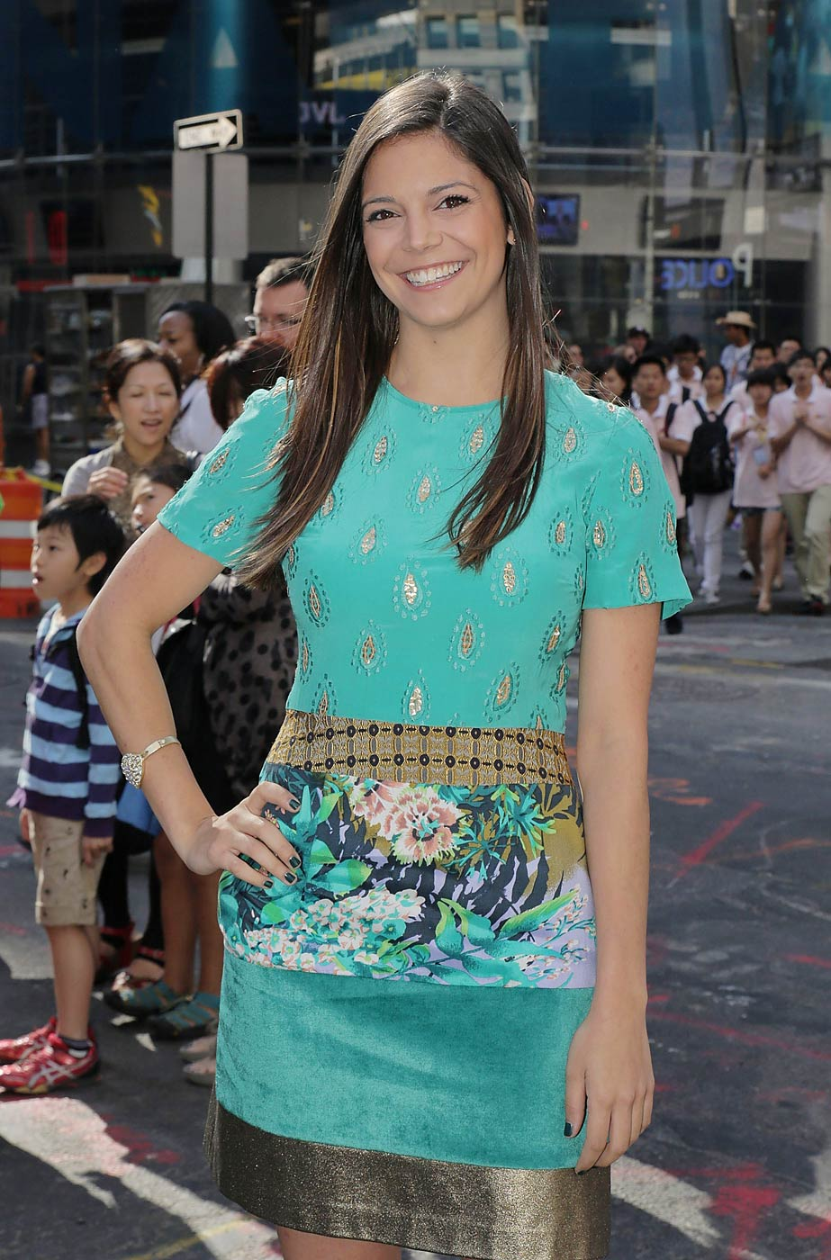 Katie Nolan of Fox Sports poses for a picture after ringing the opening bell at the NASDAQ MarketSite on August 16, 2013 in New York City.