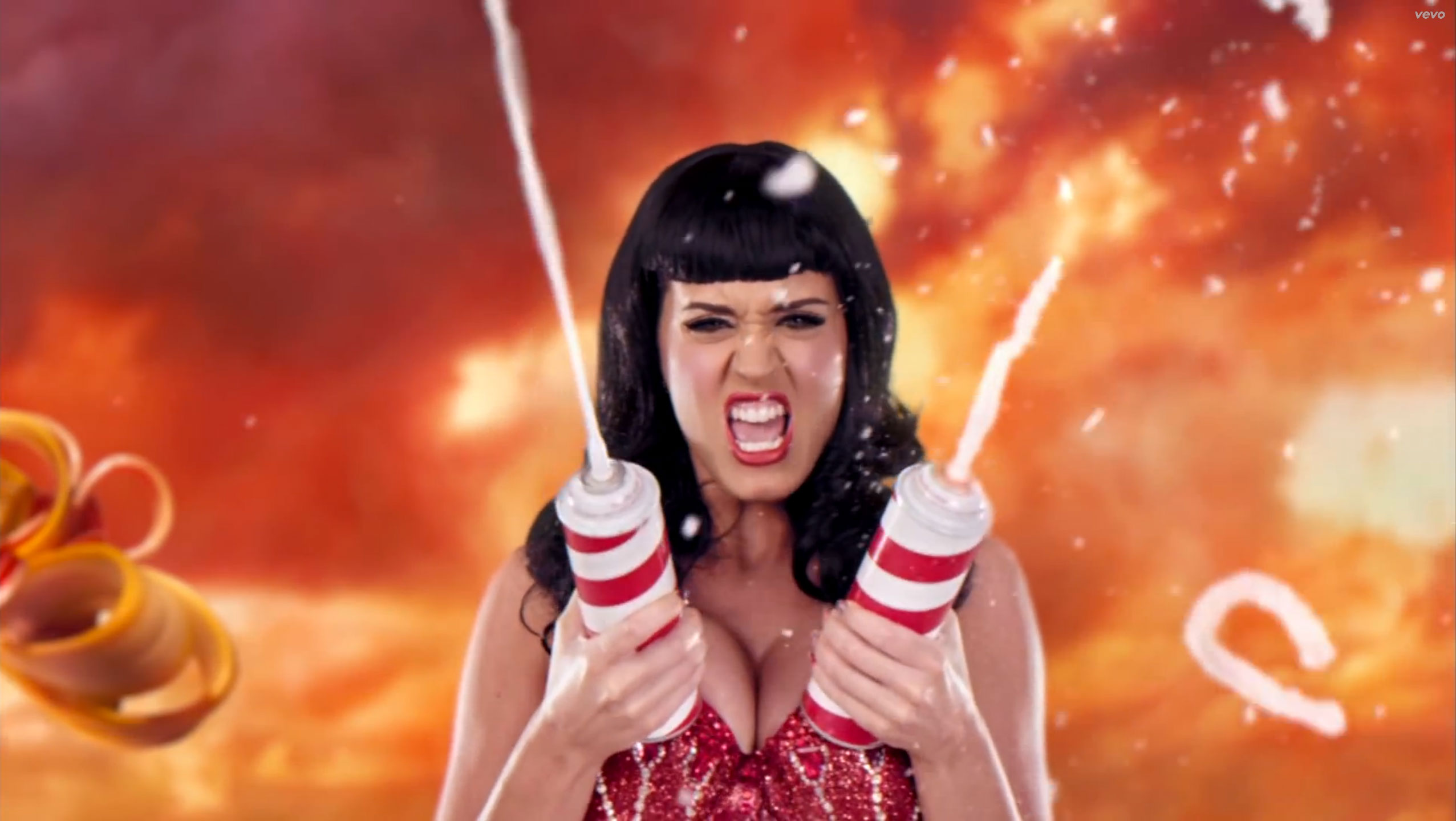 Katy Perry's Whipped Cream Bra The singer debuted this bra in the Candy Land themed-video for her 2010 hit single California Gurls, which features Perry dressed in several dessert-centric outfits.