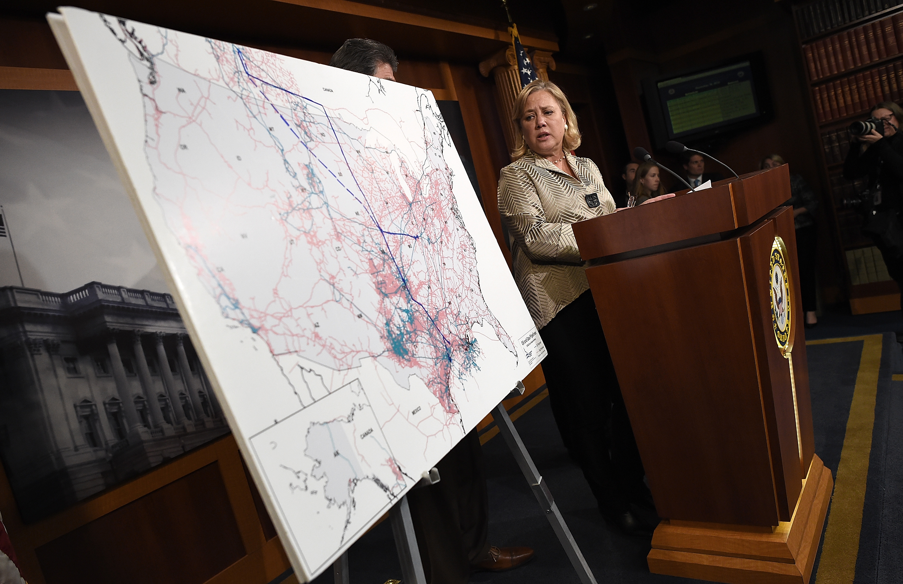 U.S. Sen. Mary Landrieu speaks after the Senate voted on the Keystone XL Pipeline Bill at the U.S. Capitol on Nov. 18, 2014 in Washington.