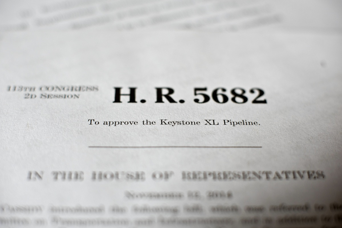 A copy of H. R. 5682, a bill which would approve the Keystone XL Pipeline, on Nov. 14, 2014.