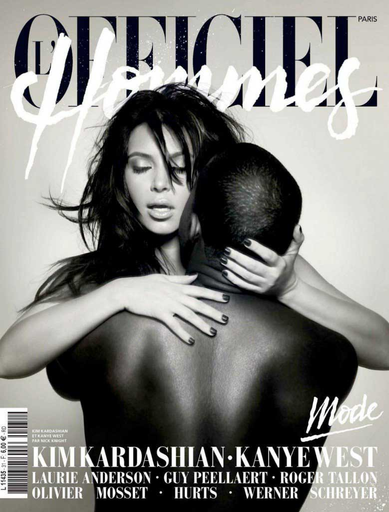 Before Kanye and Kim posed for <i>Vogue</i>, they posed on the cover of the French magazine <i>L'Officiel Hommes</i> in 2013. Is this just a strikingly suggestive pose or actual candid moment between now-spouses? Probably a little of both when it comes to this steamy photo shoot.
