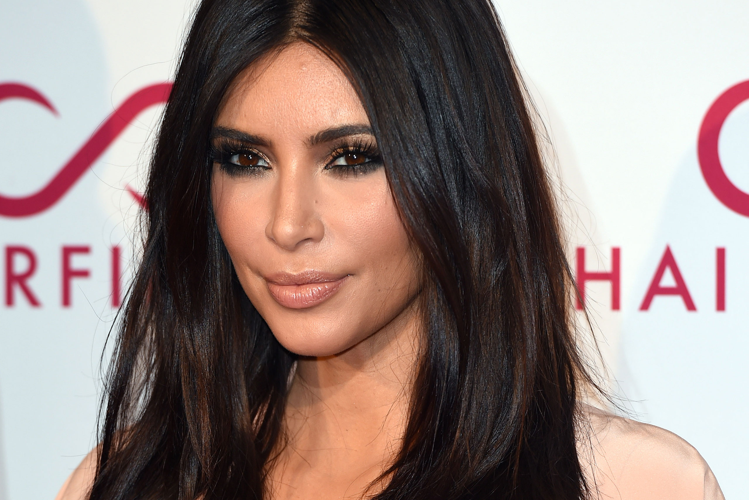 Kim Kardashian attends the Hairfinity UK Launch Party on Nov. 8, 2014 in London.