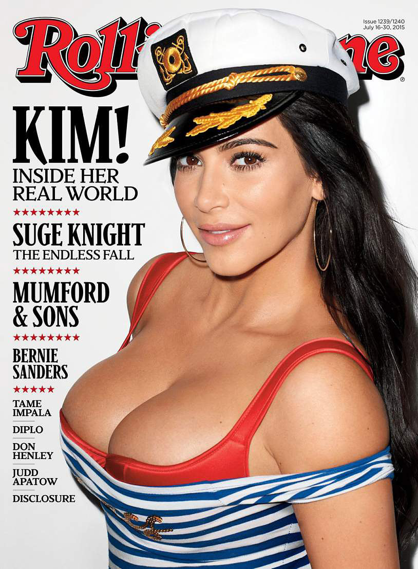 Kardashian was photographed by the controversial photographer Terry Richardson for her <i>Rolling Stone</i> cover. In the issue she talks about Caitlyn Jenner, her marriage to Kanye West and her love for the Backstreet Boys.