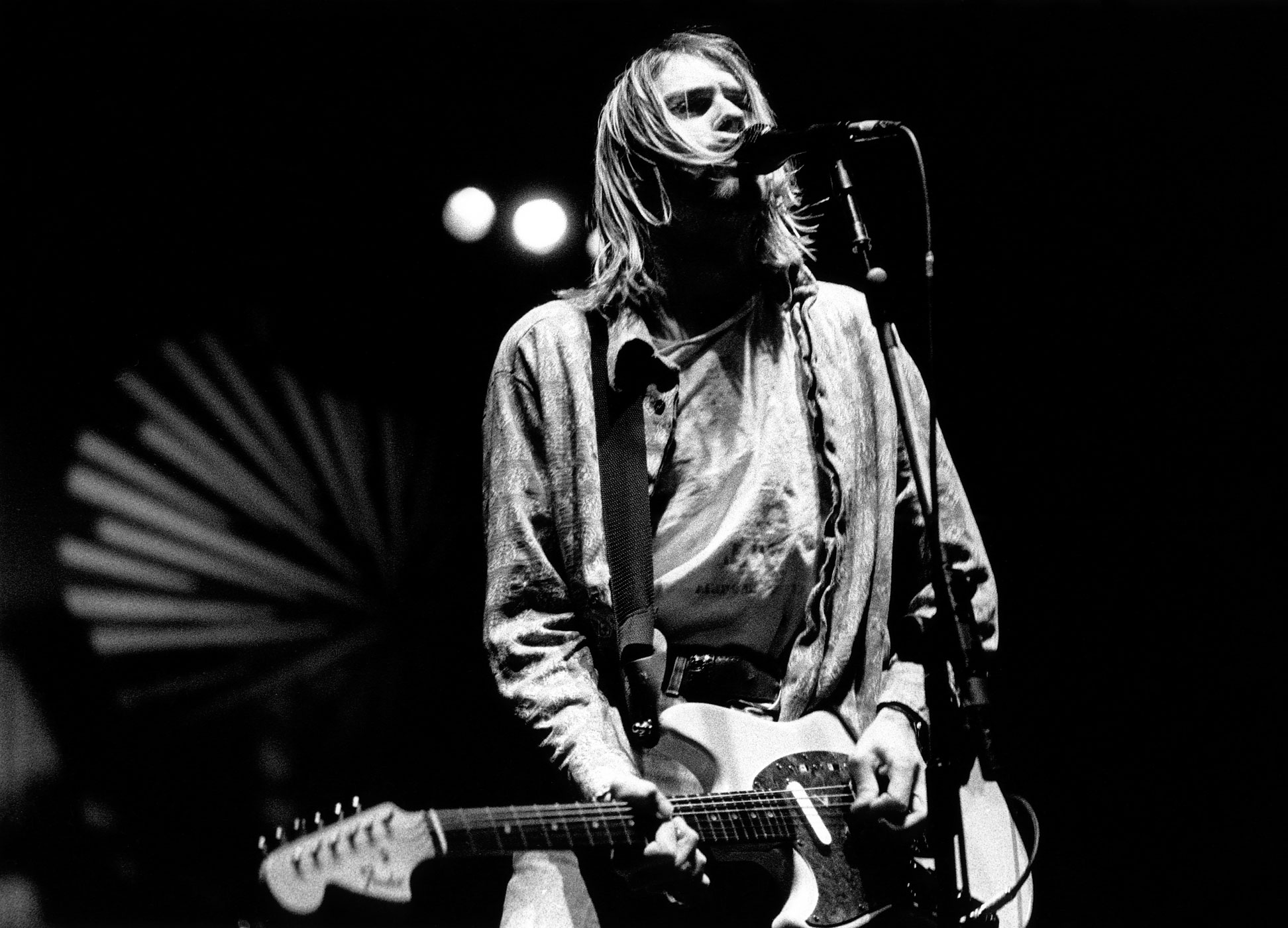 Kurt Cobain performs live onstage in Modena, Italy on Feb. 21, 1994.