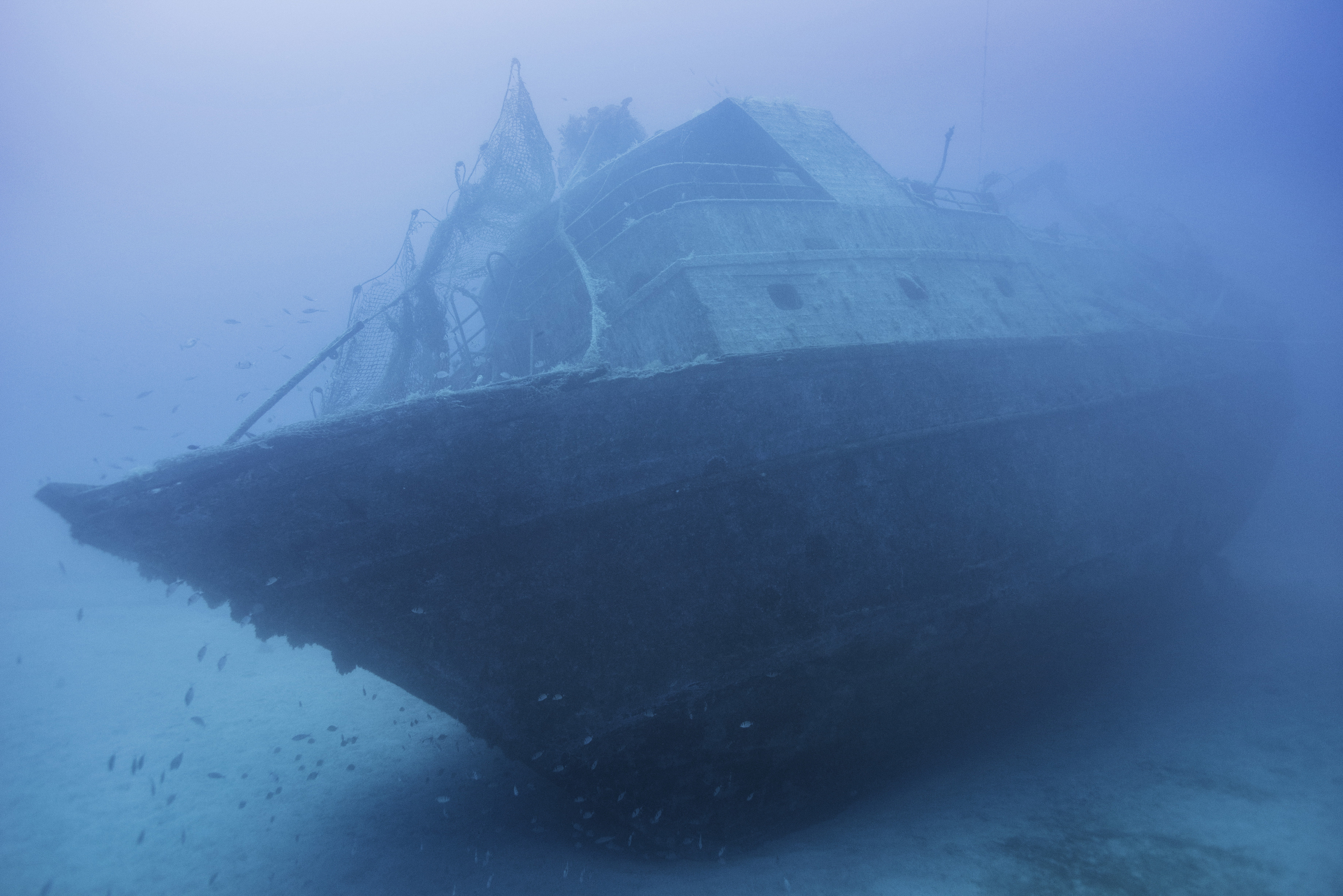 The shipwreck of the 66-foot-long fishing boat that sank off the coast of Lampedusa, Italy, lies at a depth of 164 ft. on the seabed, on Sept. 22, 2014. The tragedy that happened a year ago on Oct. 3, 2013 killed 366 migrants from North Africa.