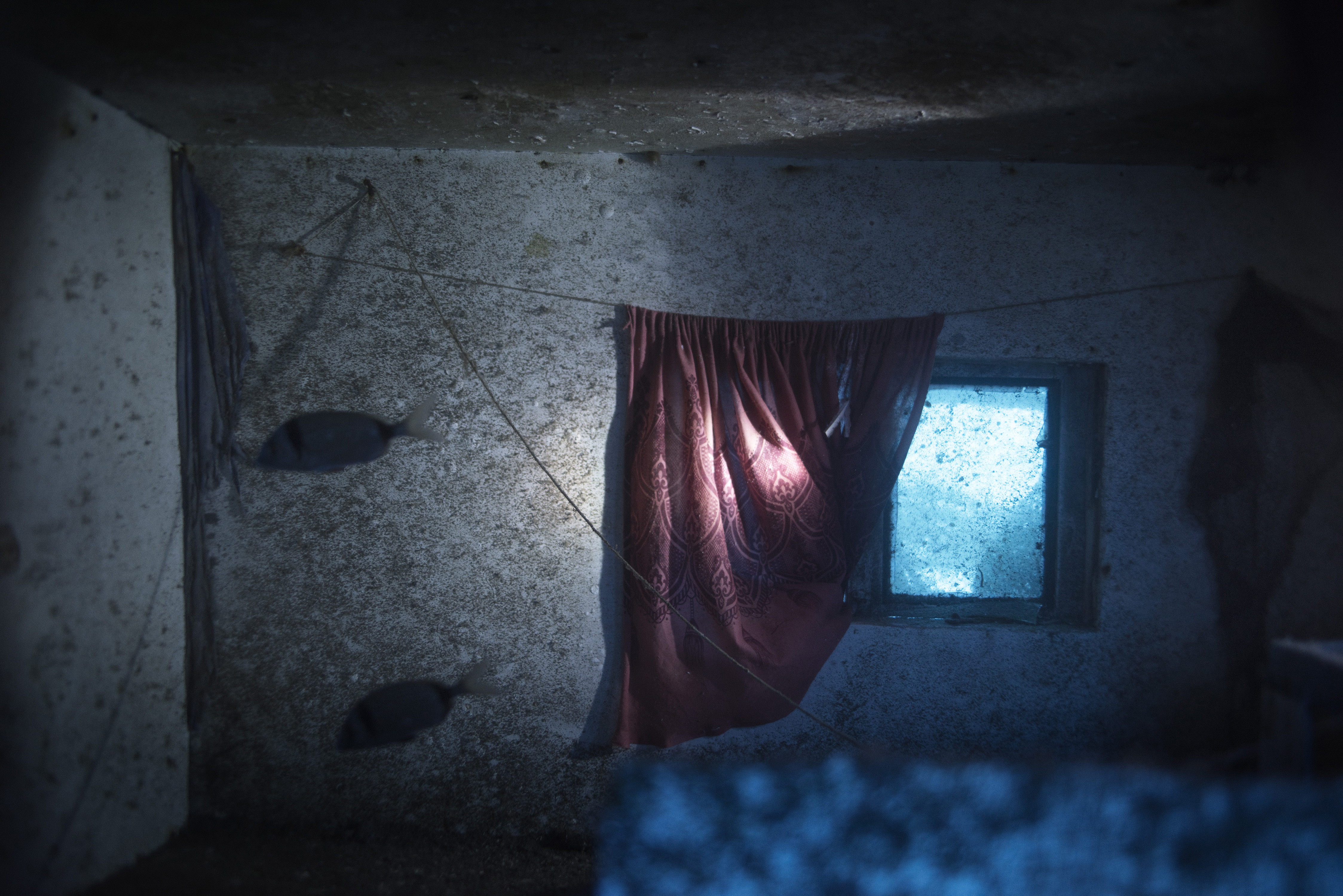A cabin inside the 66-foot-long fishing boat that sank off the coast of the Italian island of Lampedusa lies at a depth of 164 ft. on the seabed, on Sept. 22, 2014. The tragedy that happened a year ago on Oct. 3, 2013 killed 366 migrants from North Africa.