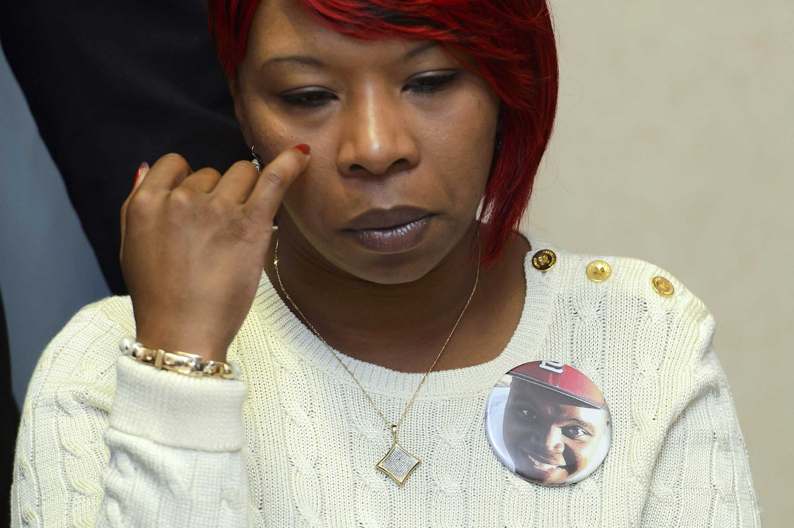 Lesley McSpadden, Michael Brown's mother, attends a press conference addressing the U.N. Committee Against Torture, in Geneva, Switzerland, on Nov. 12, 2014. Brown's parents testified in front of the committee about their son's death.