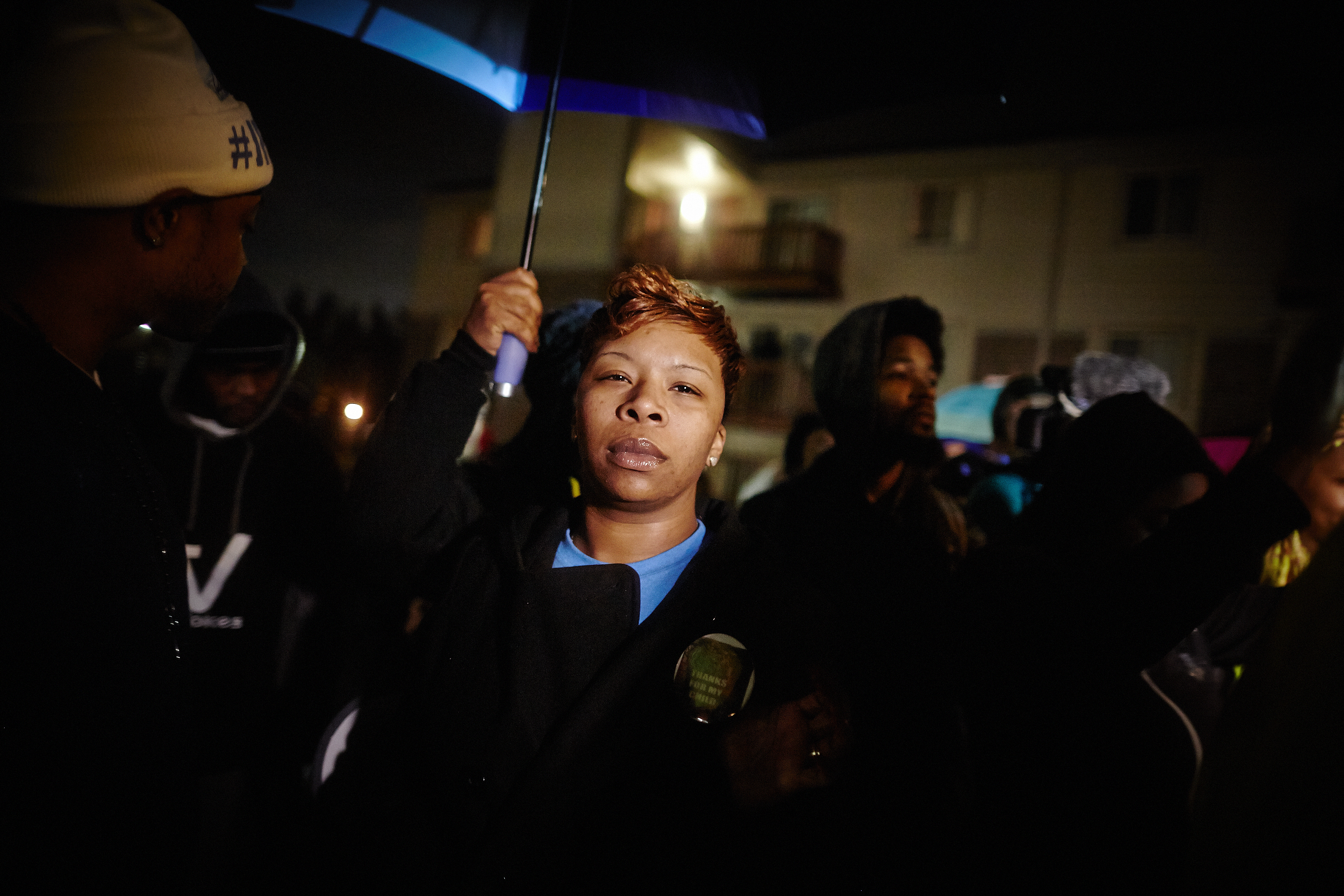 Lesley McSpadden, the mother of slain Ferguson teen Michael Brown talks to a crowd of protesters in advance of the grand-jury verdict on police officer Darren Wilson on Nov. 22, 2014