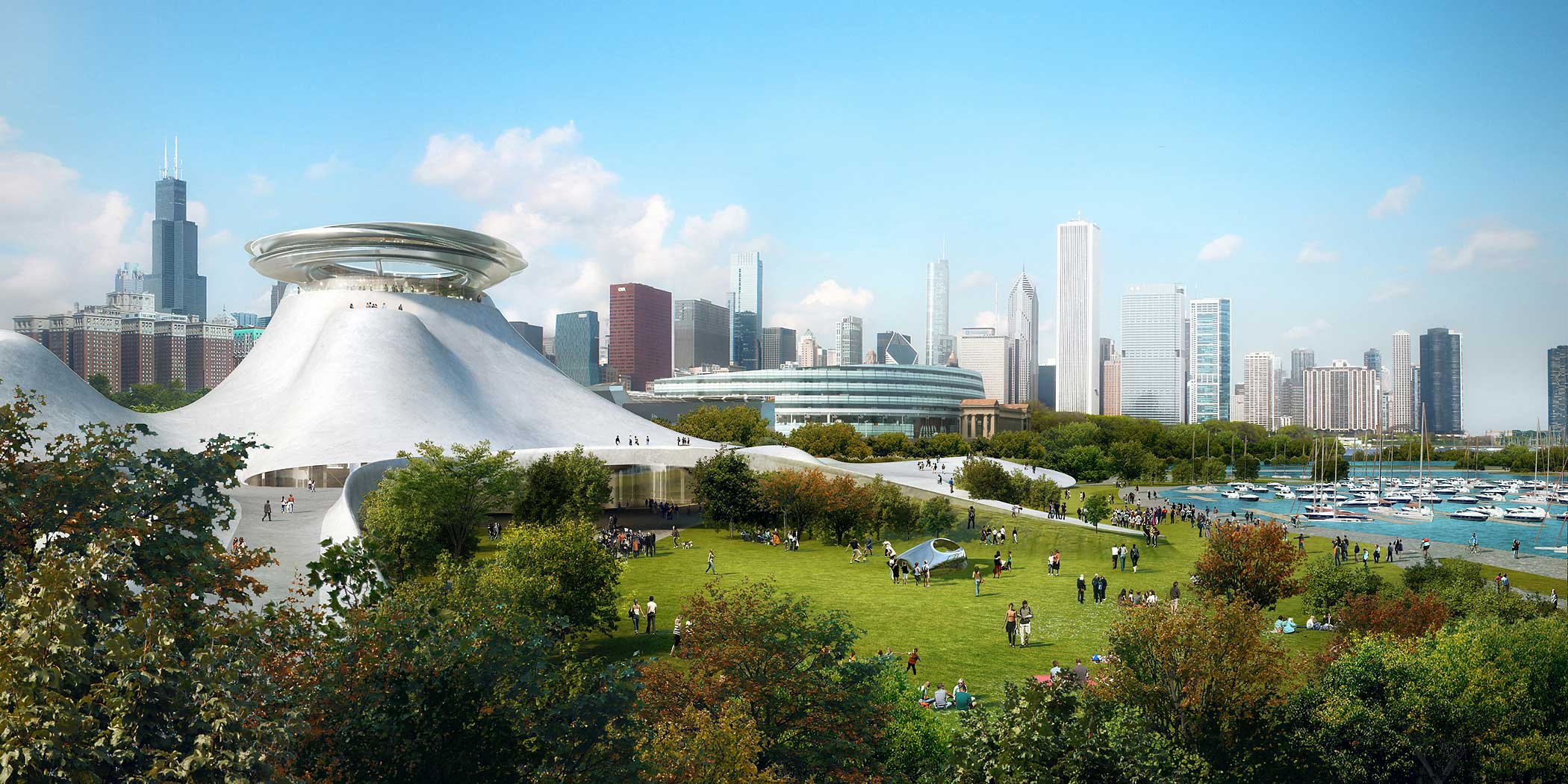 A computer rendering of the proposed Lucas Museum of Narrative Art in Chicago