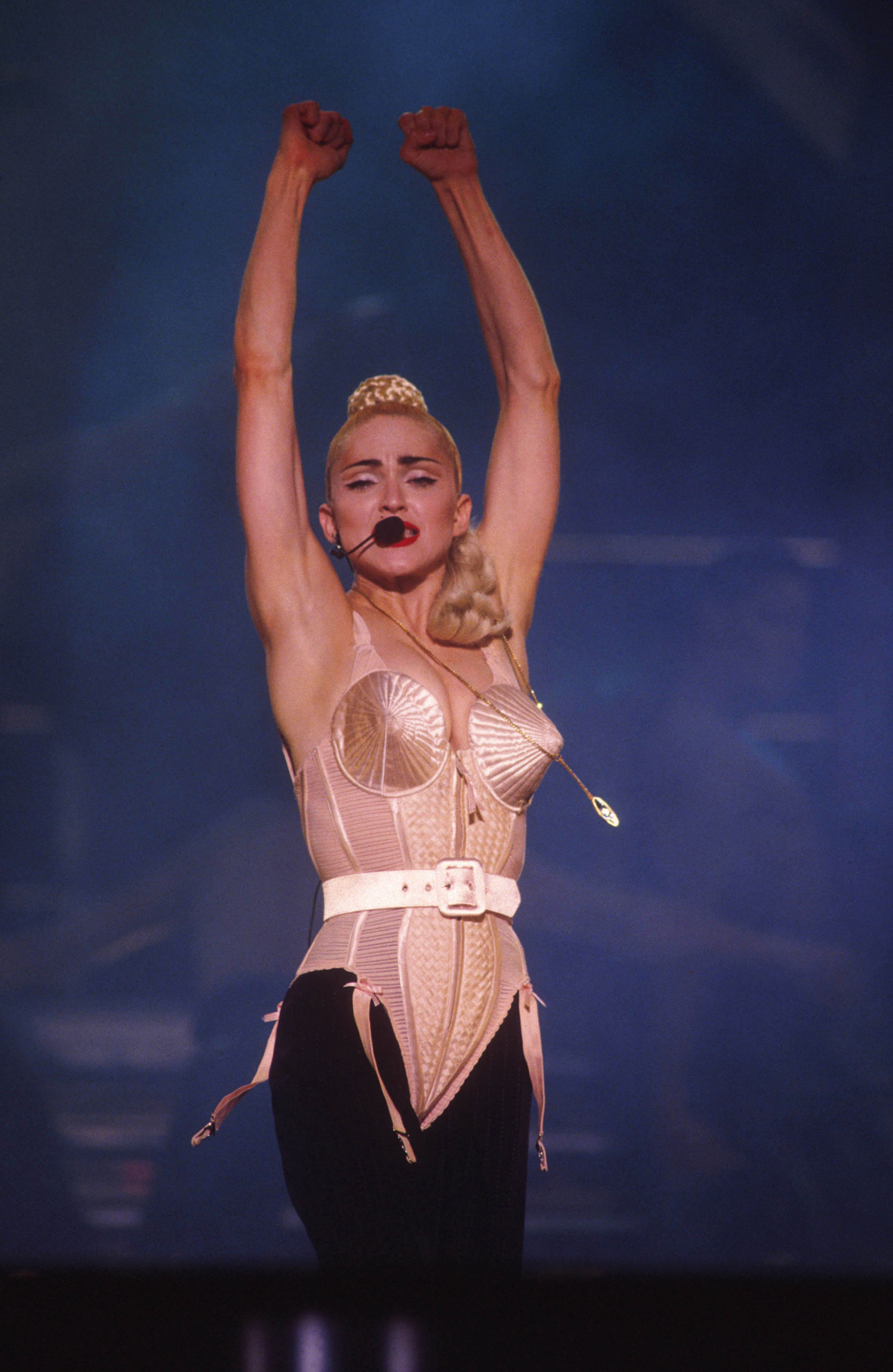 Madonna's Cone Bra Created by designer Jean Paul Gaultier for the Material Girl's Blond Ambition tour in 1990, this structured garment a was throwback to the bullet bras and has become one of the star's most memorable looks.