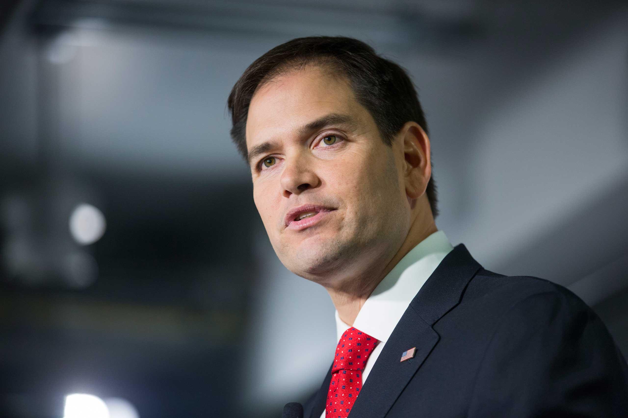 U.S. Senator Marco Rubio speaks on strategies for sparking economic growth in Washington on March 10, 2014.